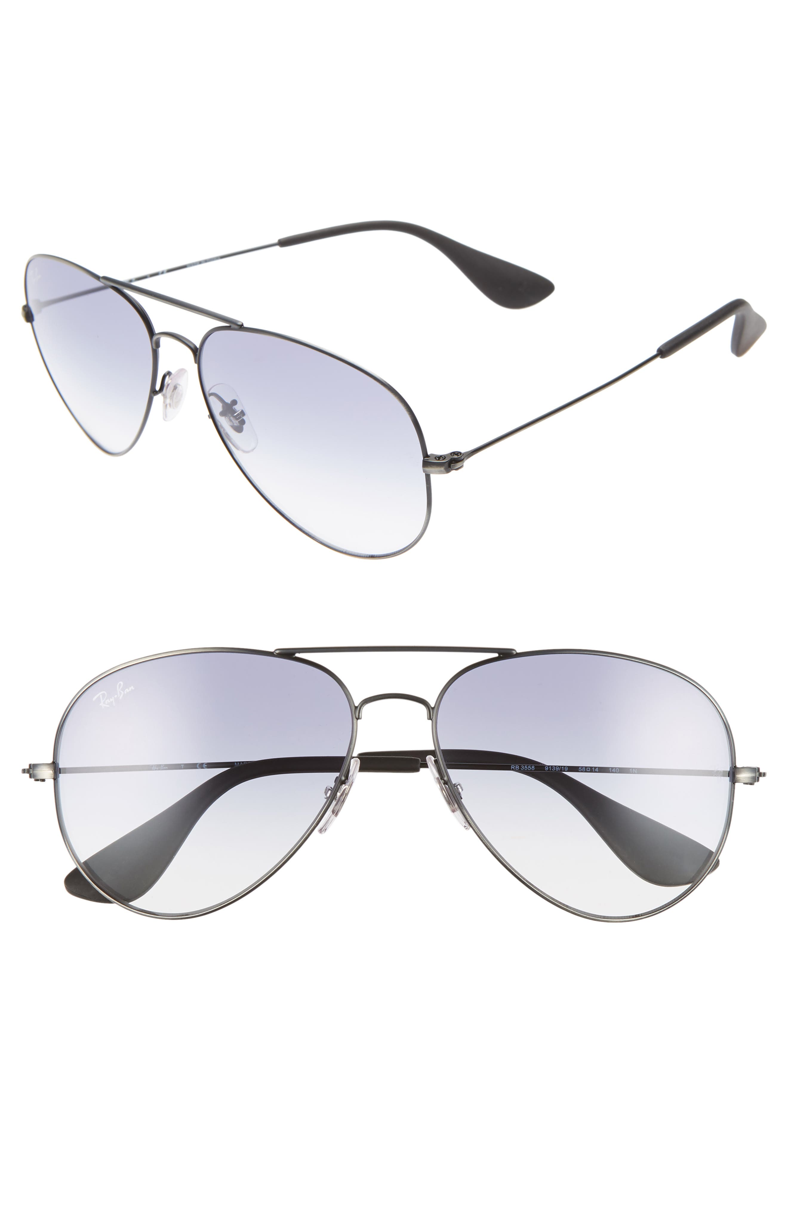 RAY-BAN,                             58mm Gradient Aviator Sunglasses,                             Main thumbnail 1, color,                             SILVER/ LIGHT BLUE GRADIENT
