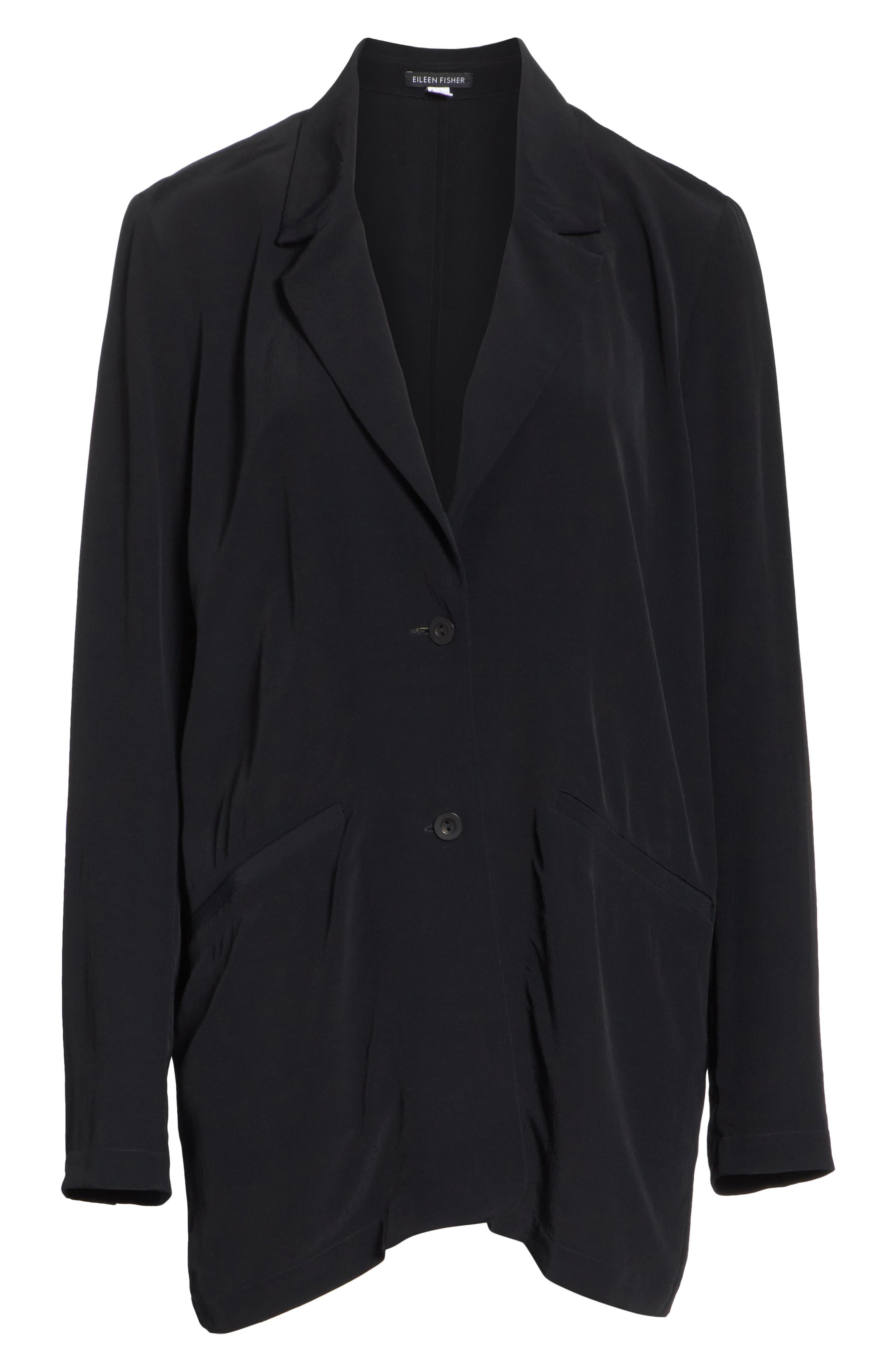 Long Notch Collar Jacket,                             Alternate thumbnail 5, color,                             001