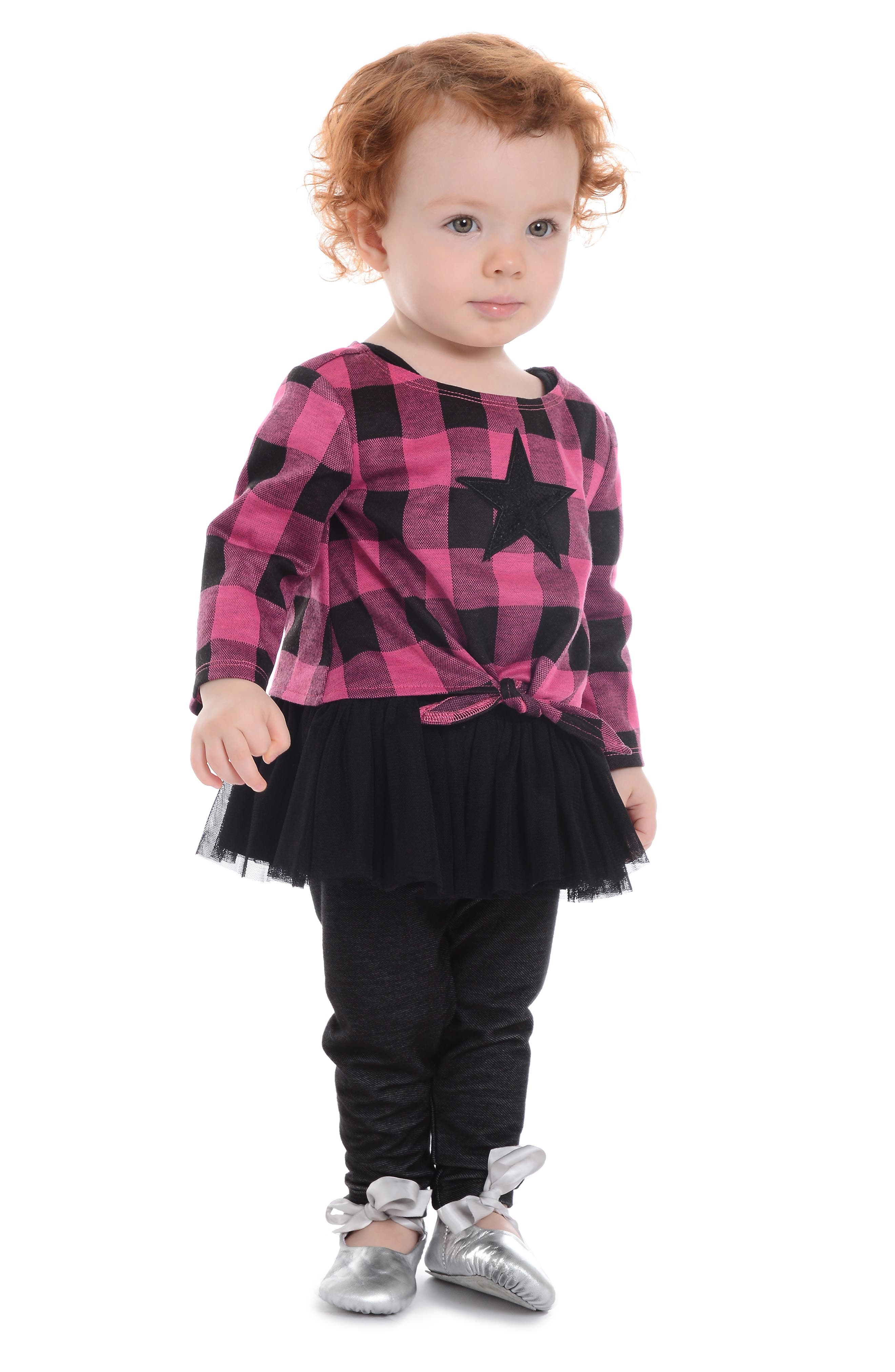 Plaid Sequin Star Sweater, Tutu Tunic & Leggings Set,                             Alternate thumbnail 3, color,                             663