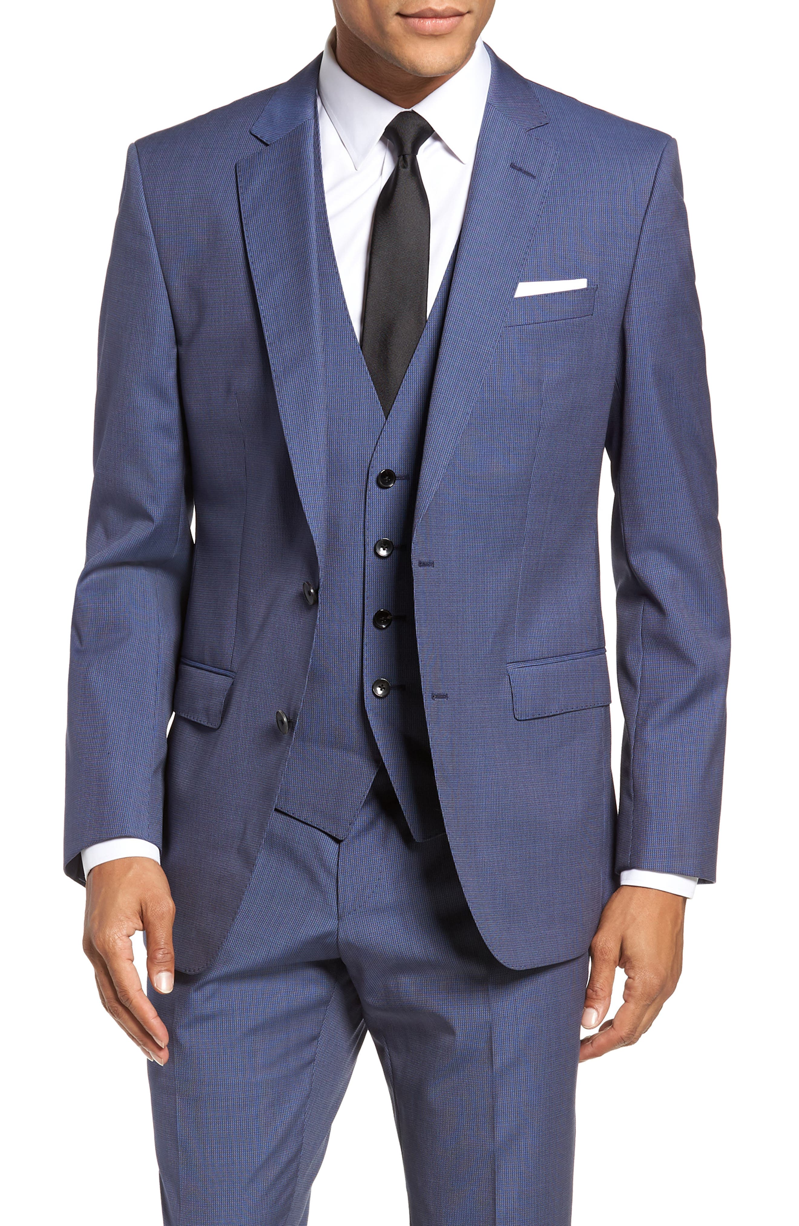 Huge/Genius Trim Fit Solid Three Piece Wool Suit,                             Alternate thumbnail 6, color,                             BLUE