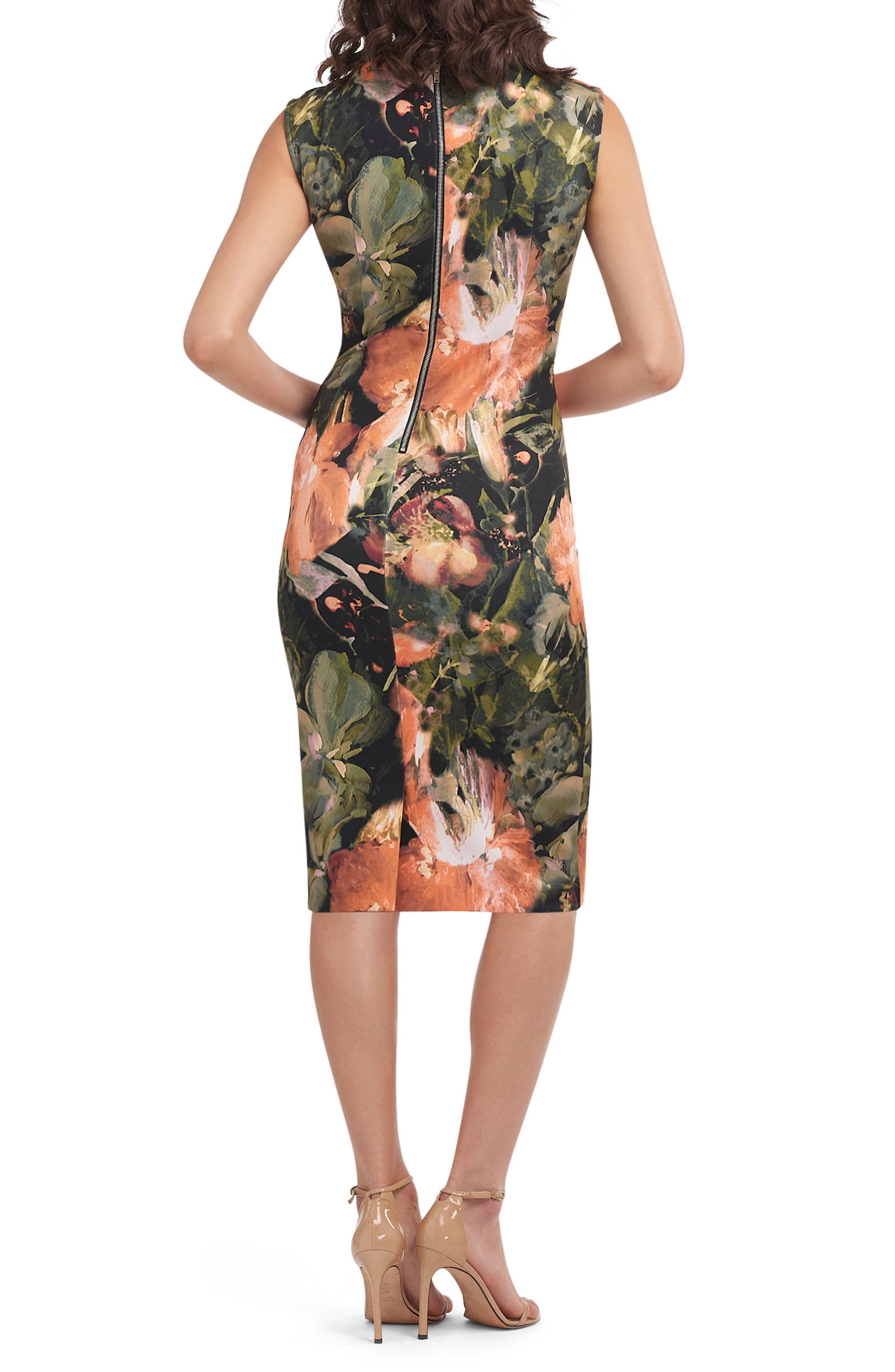 Bow Tie Neck Print Sheath Dress,                             Alternate thumbnail 2, color,                             653