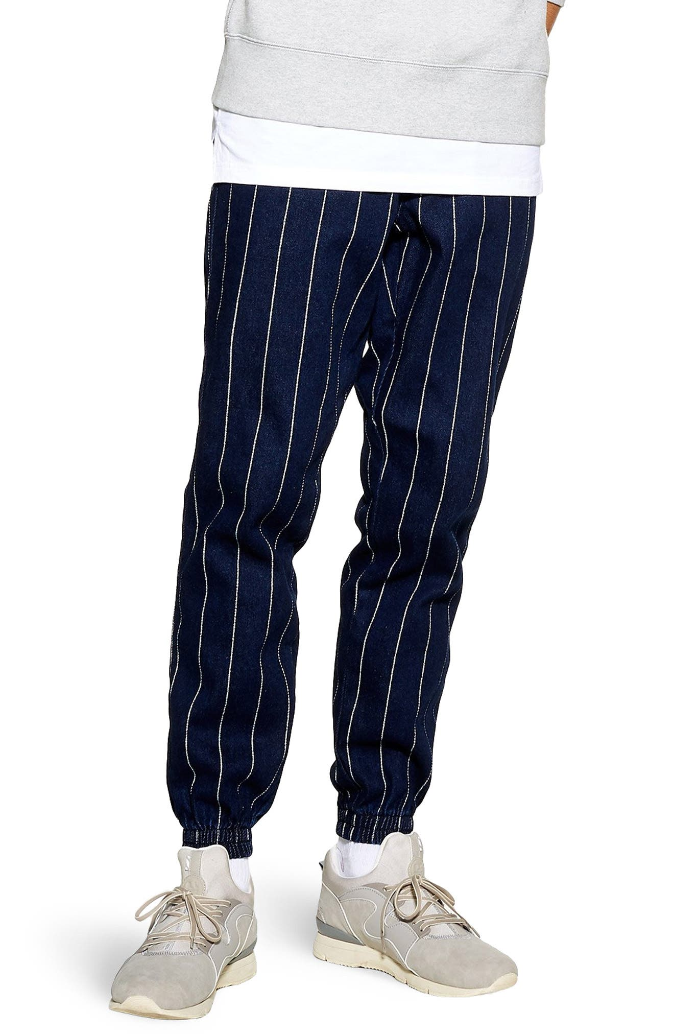 Stripe Jogger Pants, Main, color, DARK BLUE