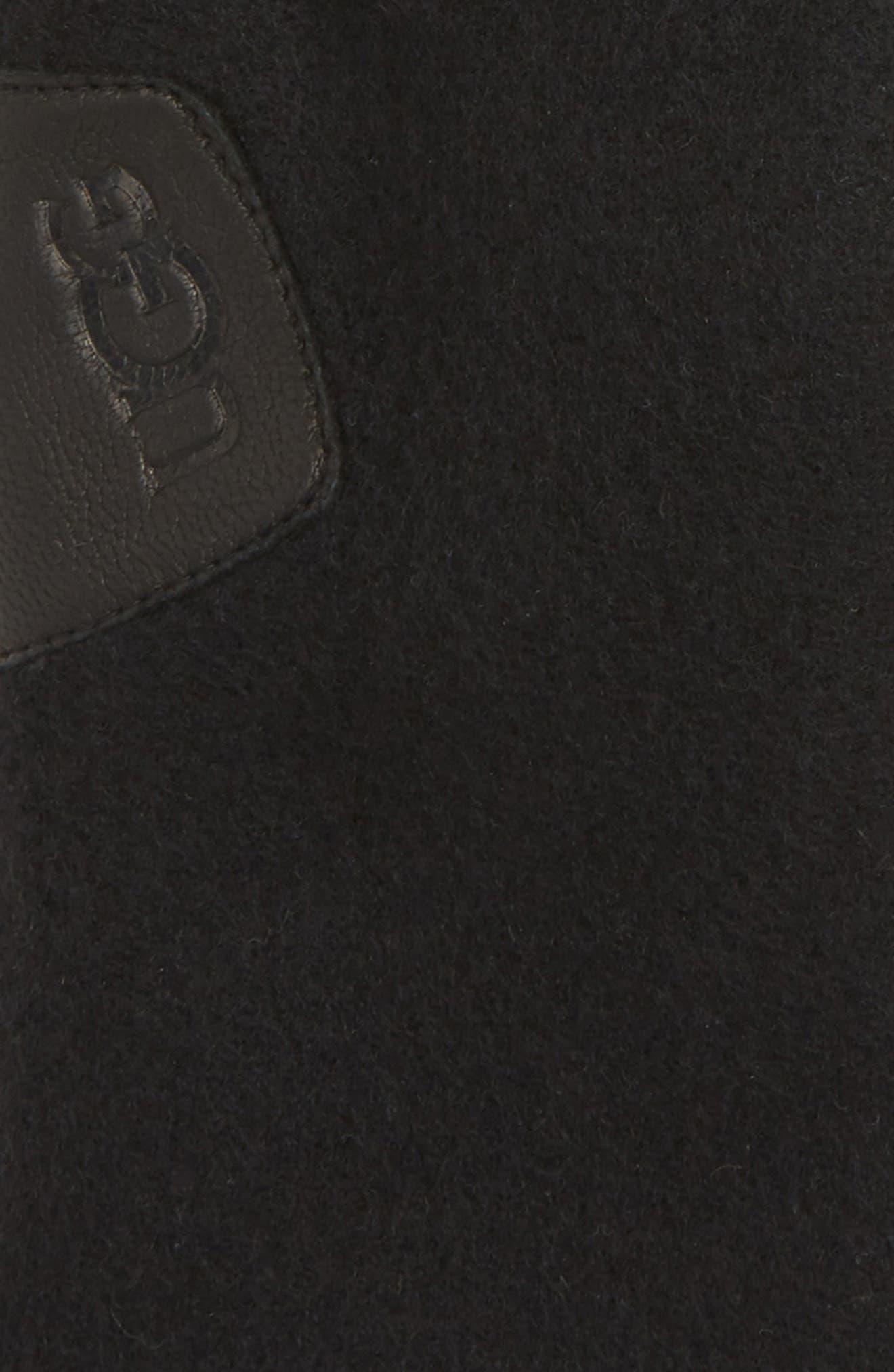 Leather Palm Knit Gloves,                             Alternate thumbnail 3, color,                             BLACK