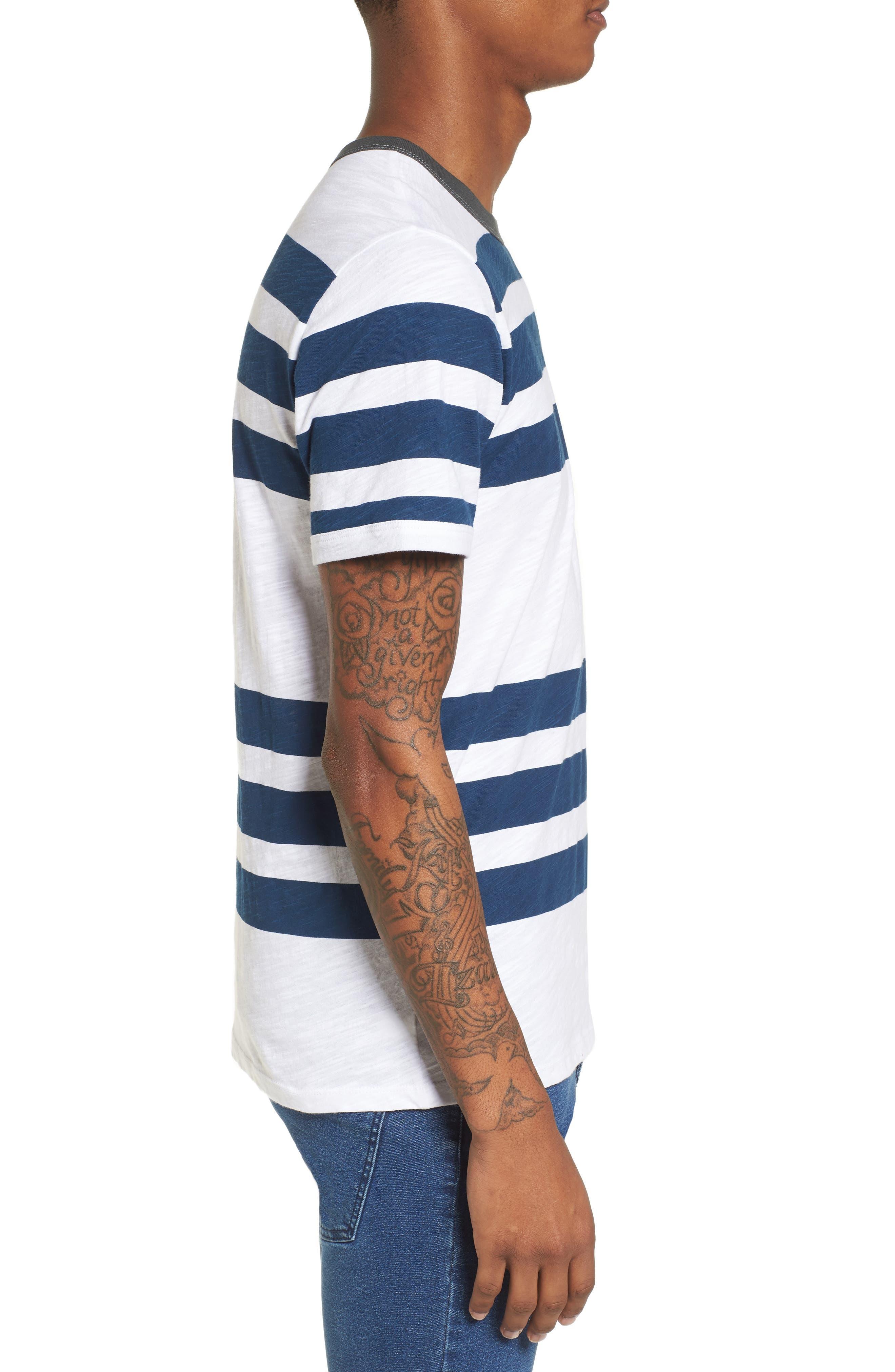 Slub Stripe Ringer T-Shirt,                             Alternate thumbnail 3, color,                             420