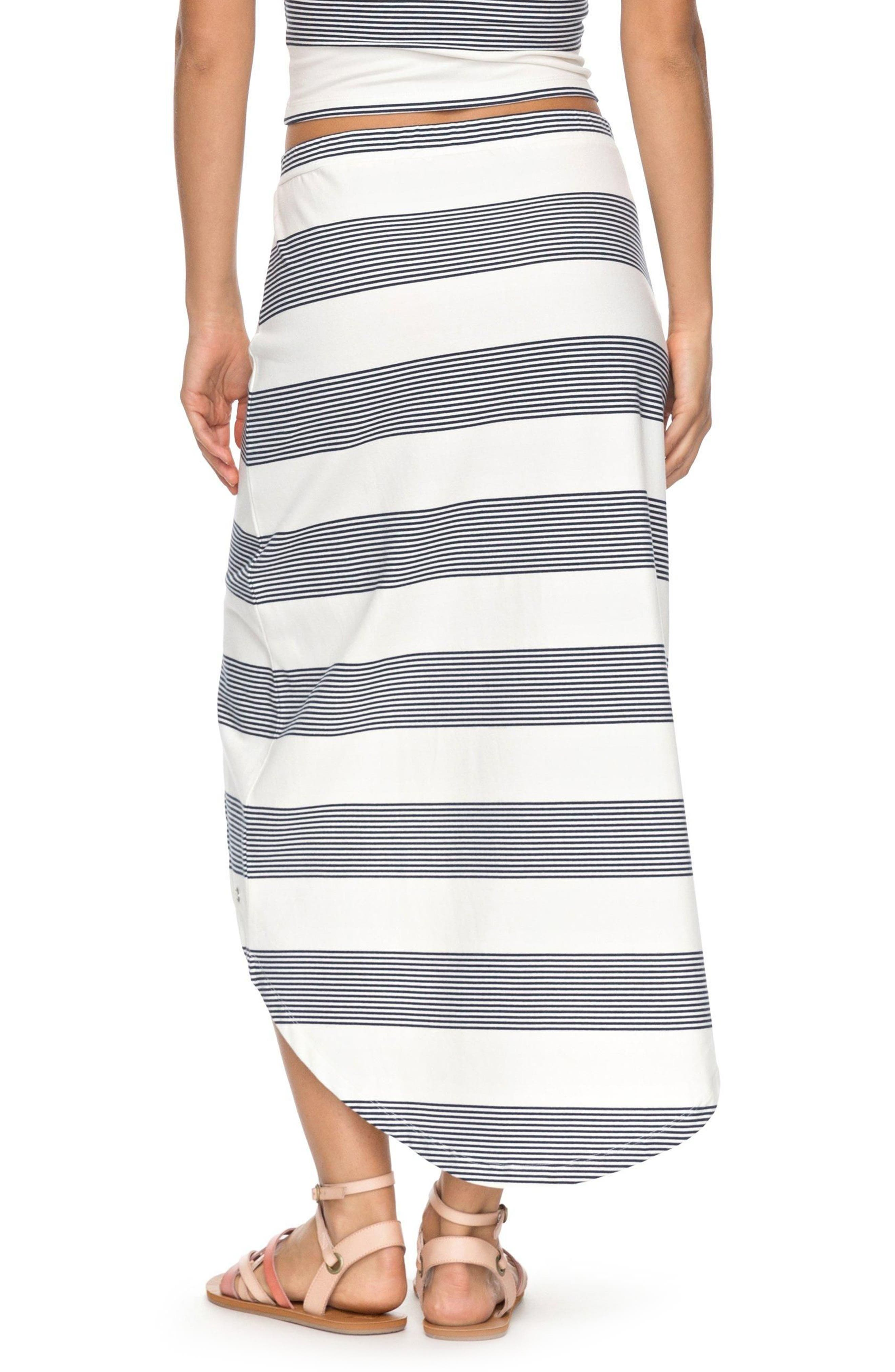 Romantic Ocean Stripe High/Low Skirt,                             Alternate thumbnail 2, color,                             900