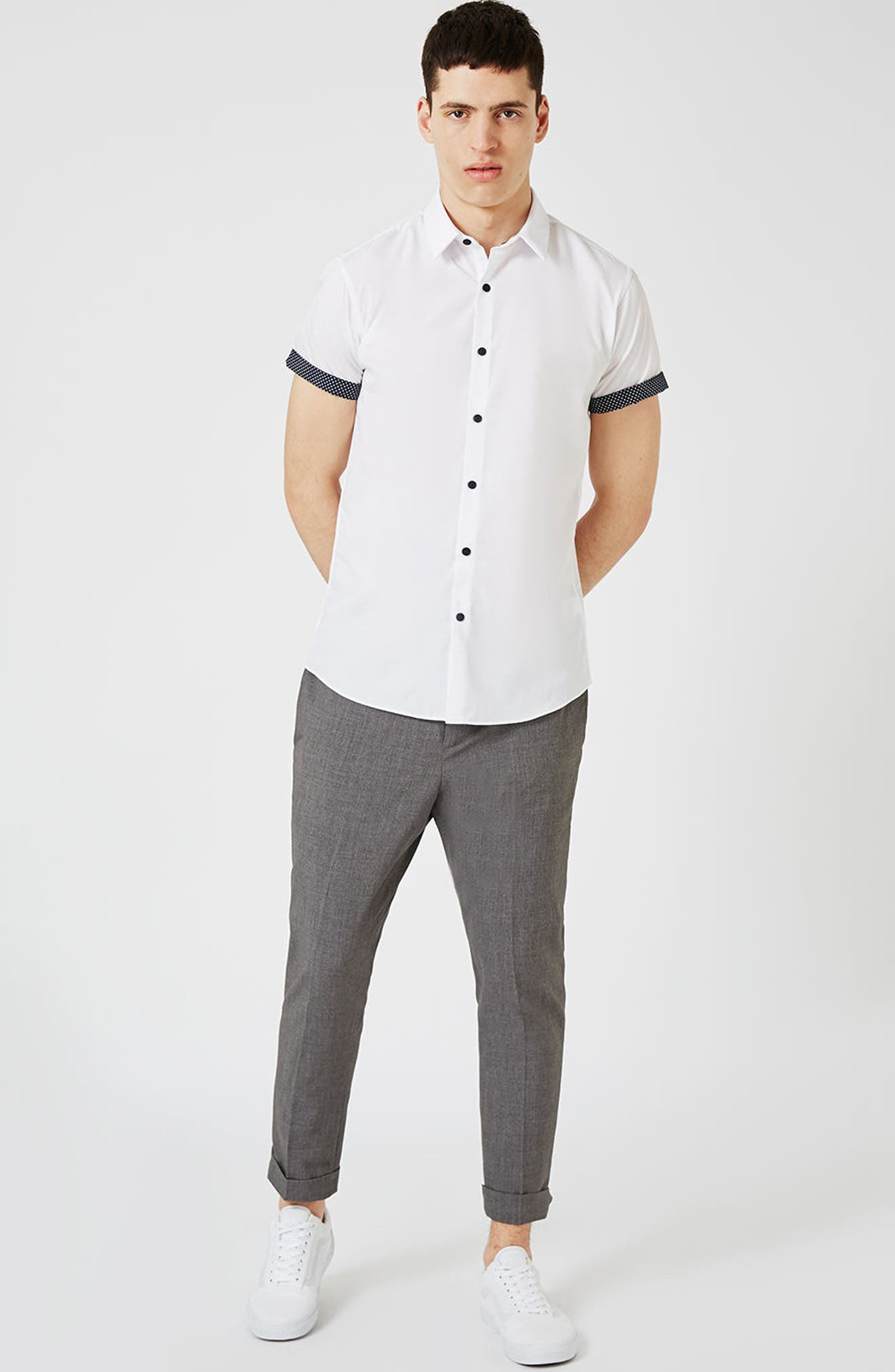 Dot Cuff Shirt,                             Alternate thumbnail 4, color,                             100