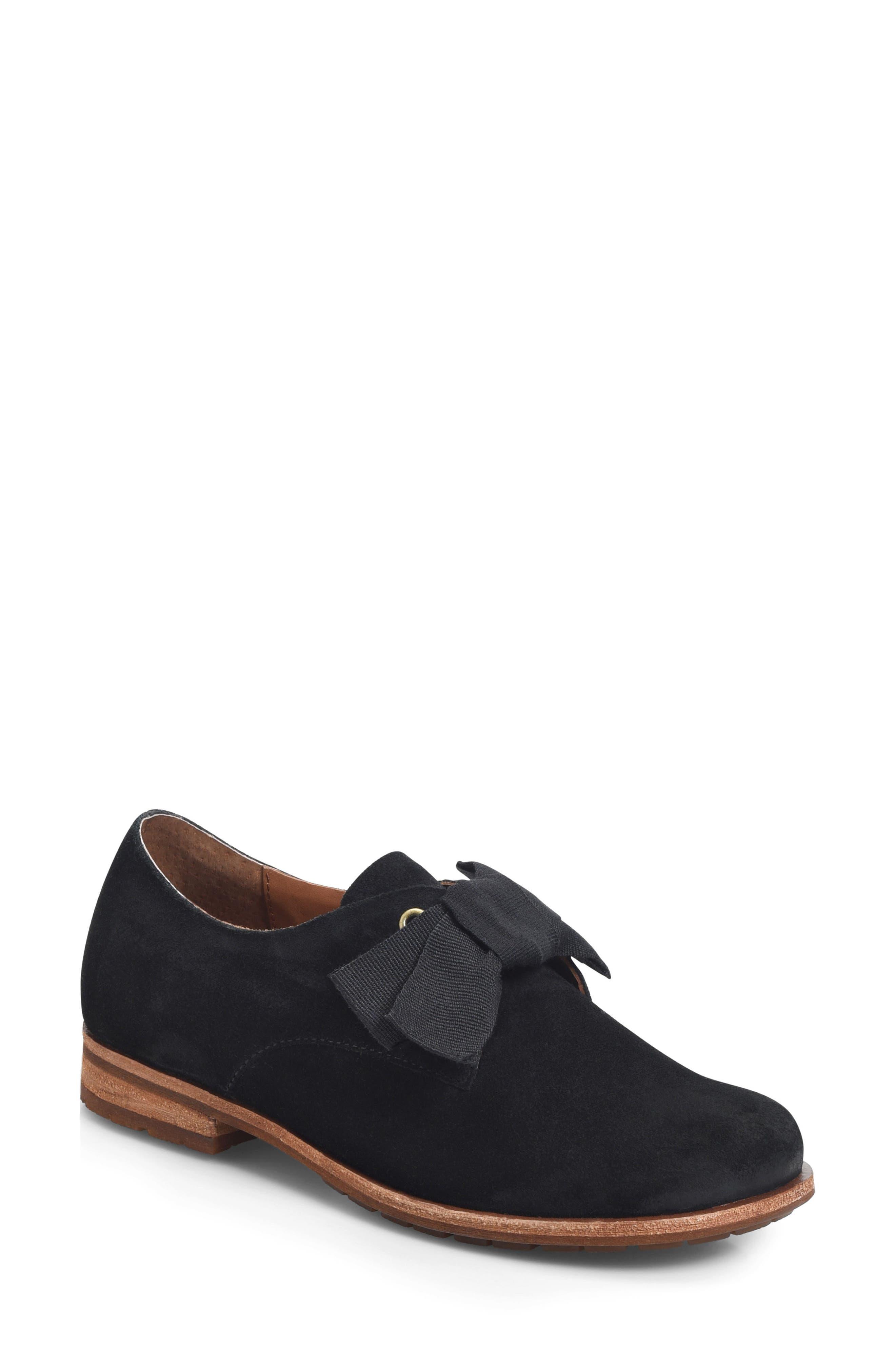 Beryl Bow Flat,                             Main thumbnail 1, color,                             BLACK SUEDE