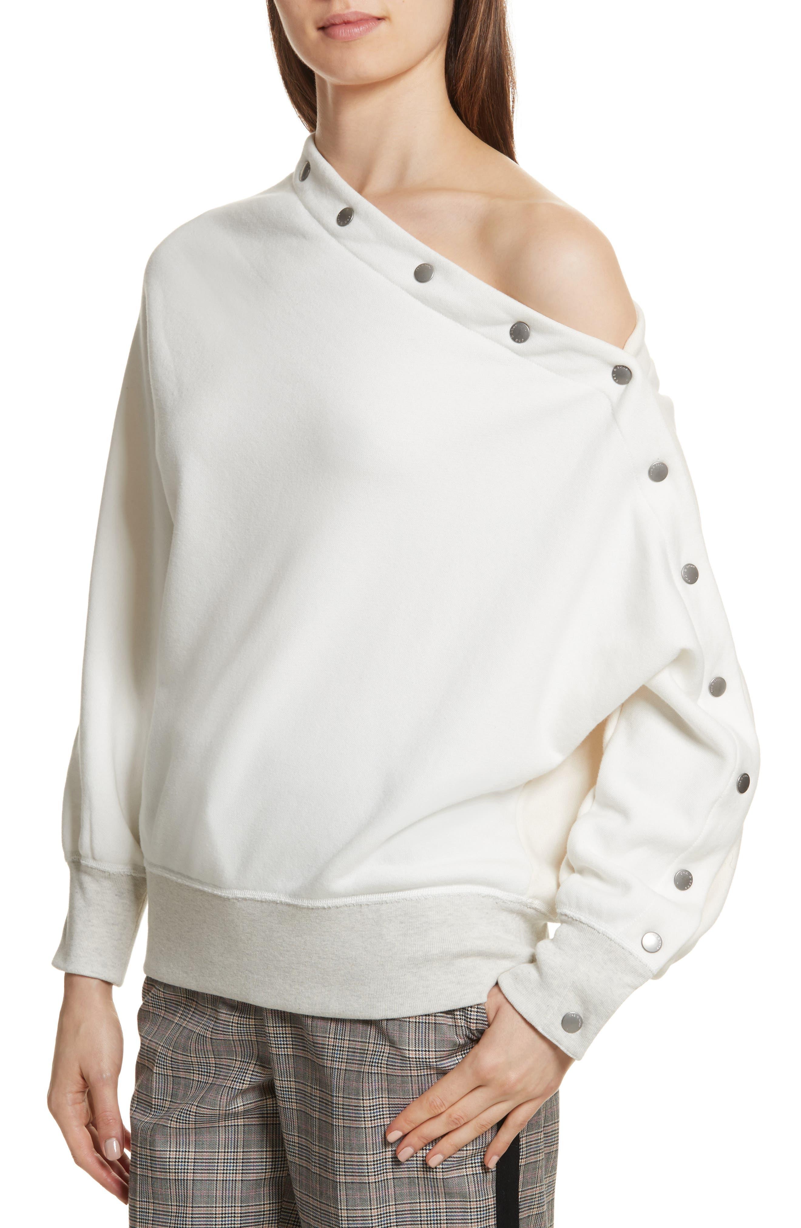 Kate Side Snap Cold Shoulder Sweatshirt,                             Alternate thumbnail 8, color,