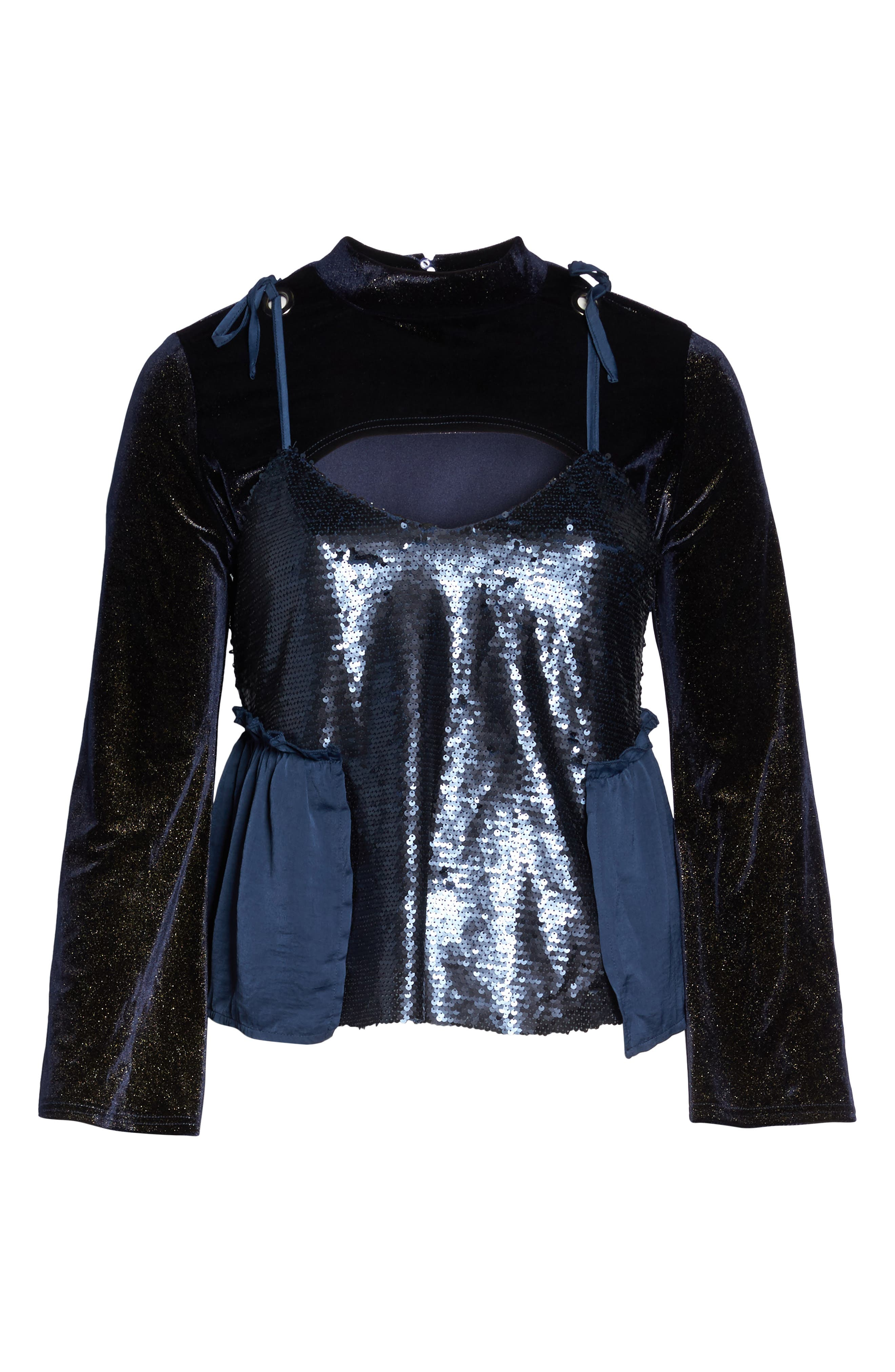 Bell Sleeve Velvet Top with Sequin Cami,                             Alternate thumbnail 6, color,                             401