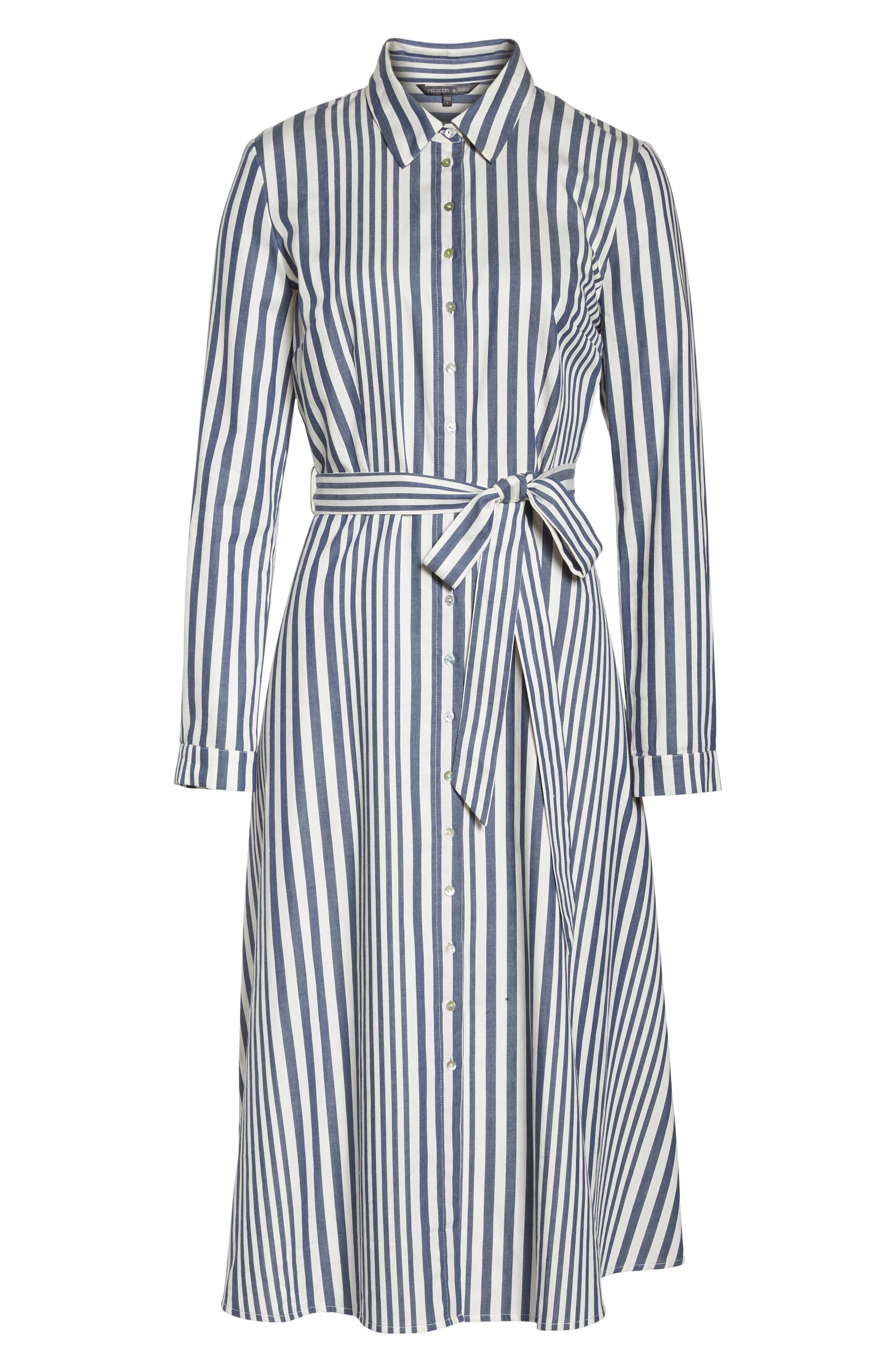 Rachel Stripe Shirtdress,                             Alternate thumbnail 7, color,                             100