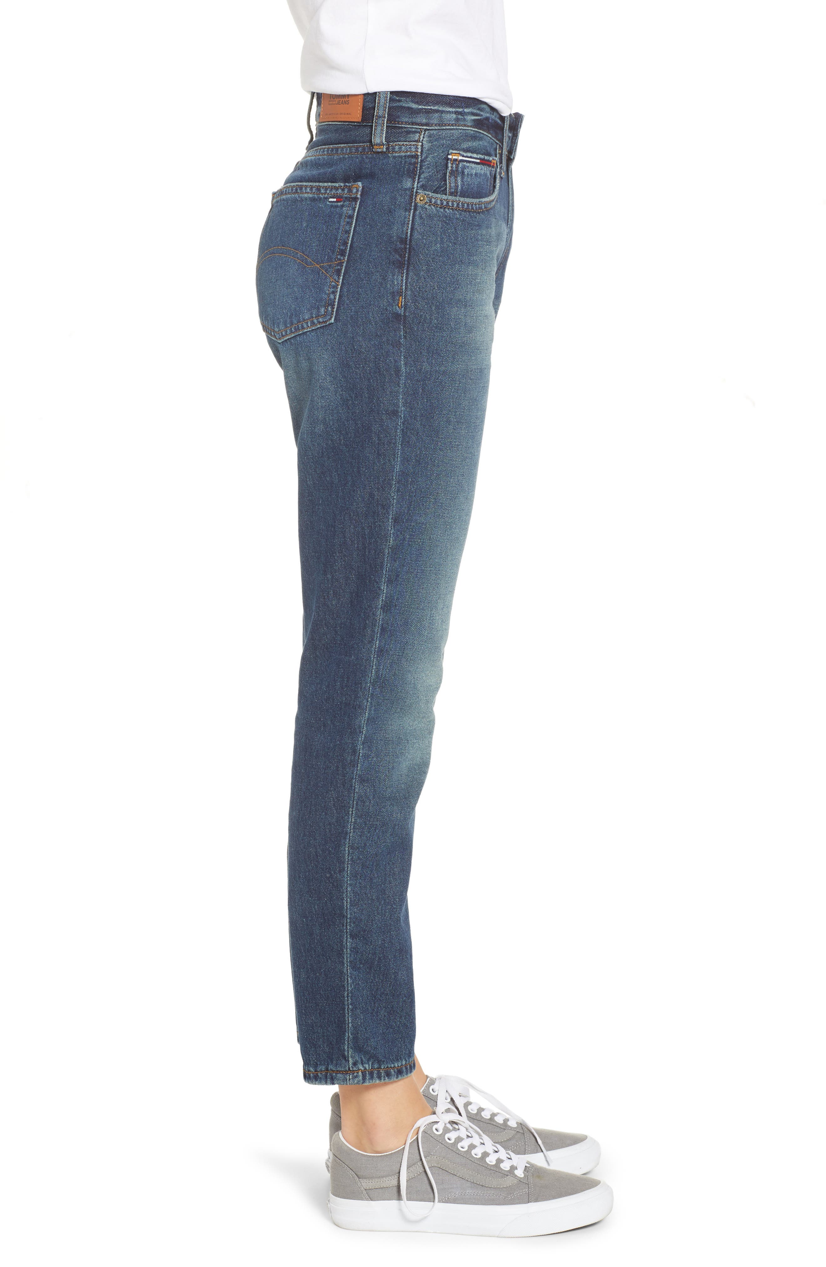 Izzy High Waist Slim Crop Jeans,                             Alternate thumbnail 3, color,                             PHANTOM DARK BLUE RIGID