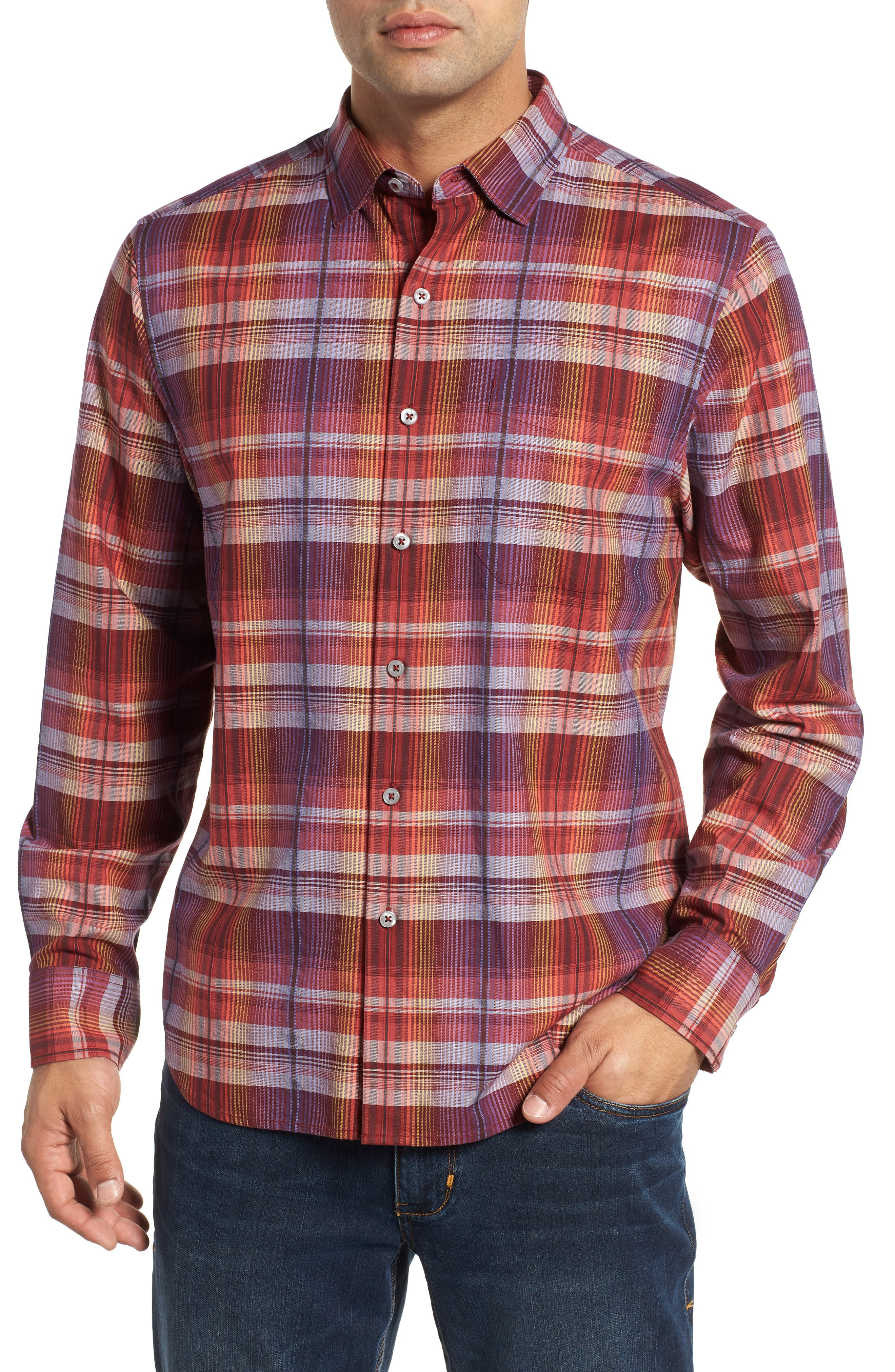 Puerto Prism Plaid Sport Shirt,                         Main,                         color, SCOOTER RED