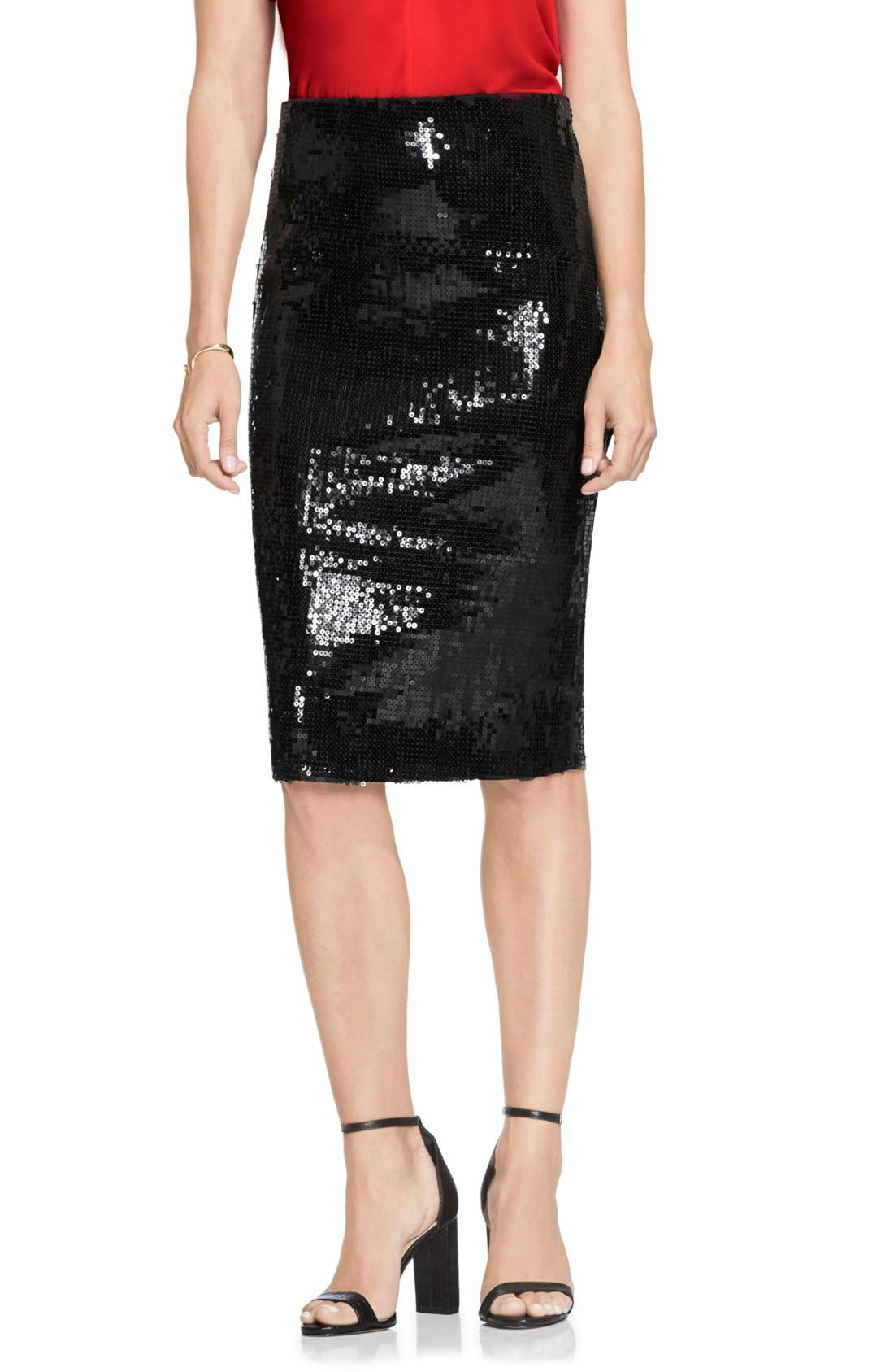 Sequin Pencil Skirt,                             Main thumbnail 1, color,                             006