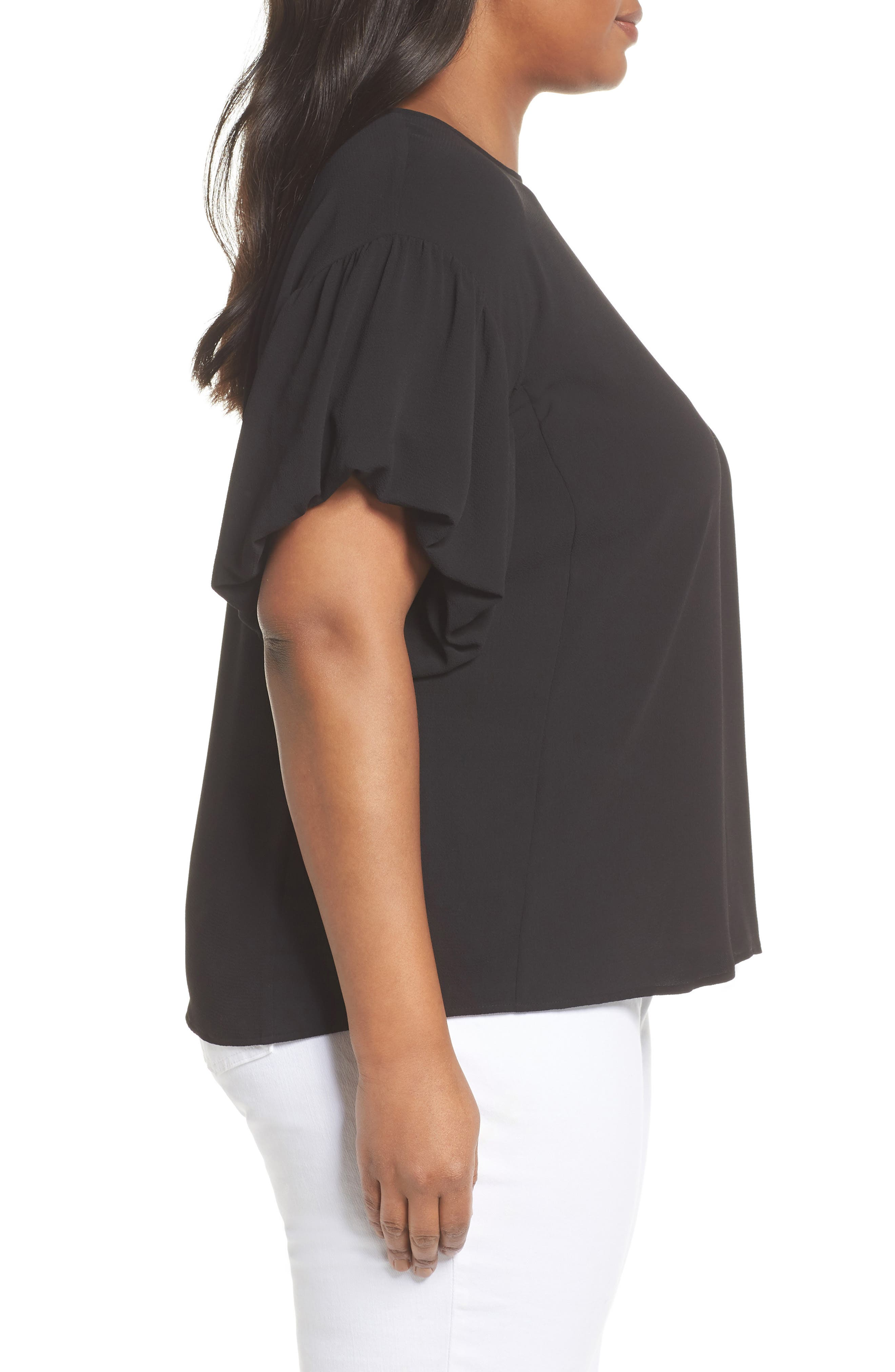 Bubble Sleeve Blouse,                             Alternate thumbnail 3, color,                             RICH BLACK