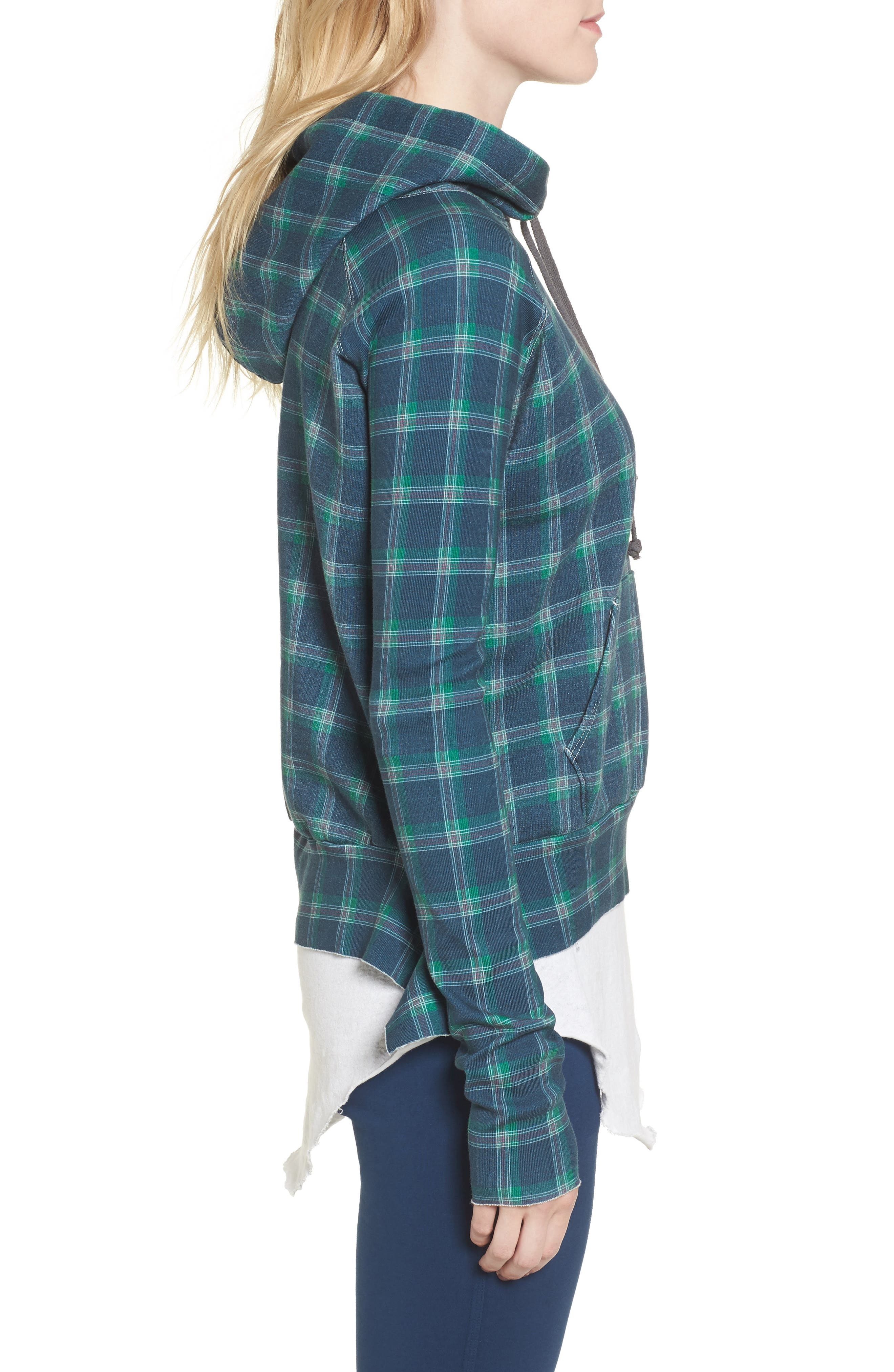 Plaid Pullover Hoodie,                             Alternate thumbnail 3, color,                             400