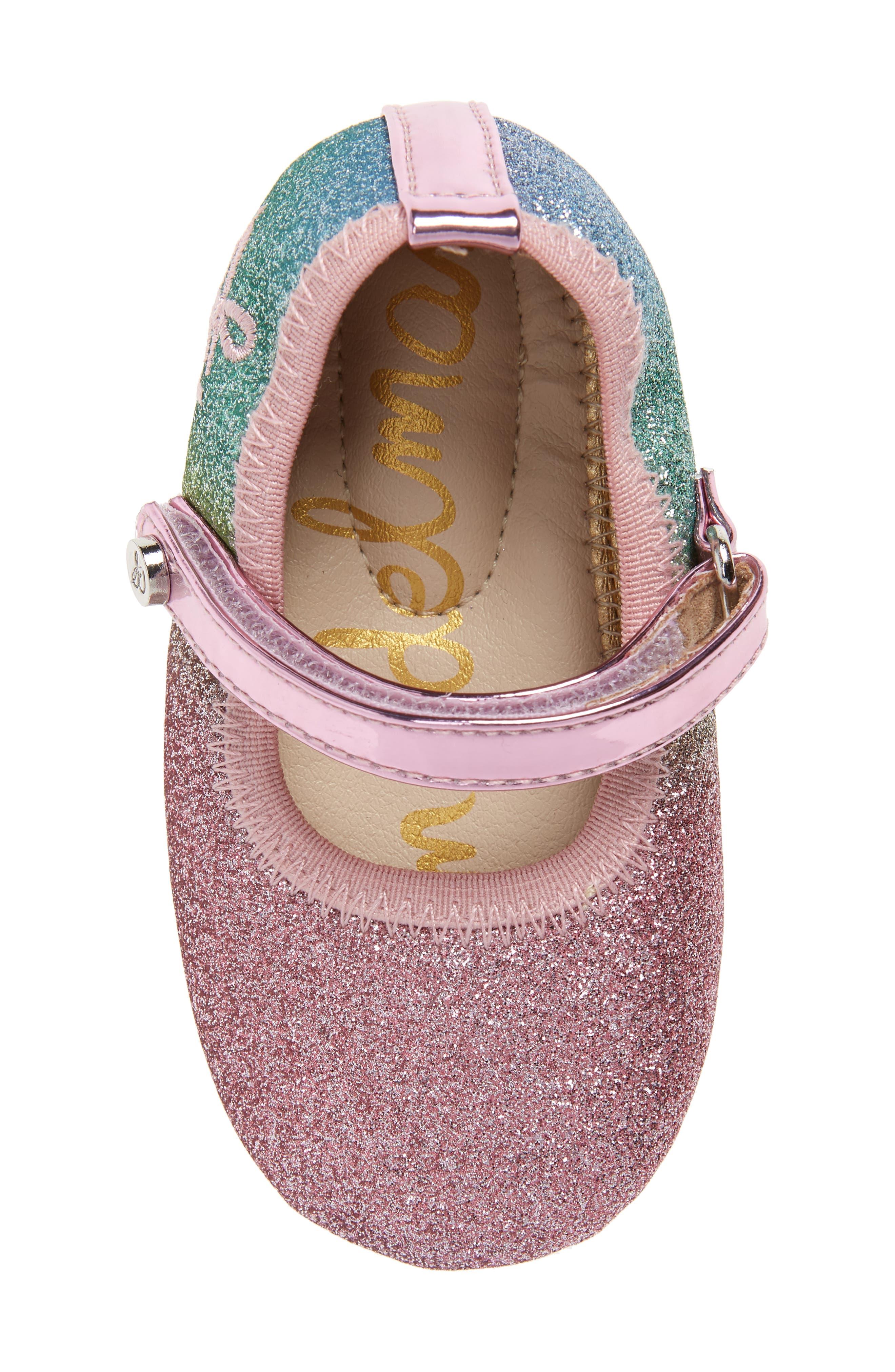Glitter Rainbow Dancer Mary Jane Crib Shoe,                             Alternate thumbnail 5, color,                             650