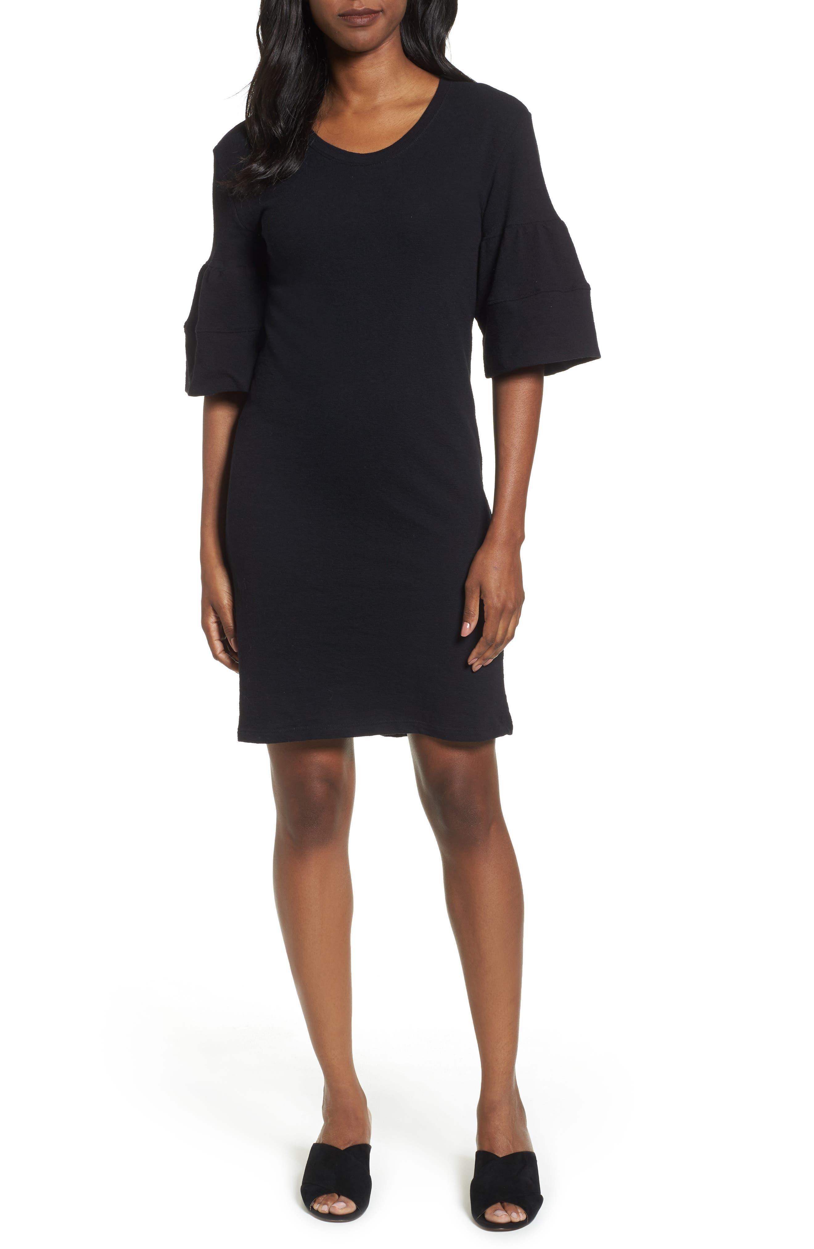 Ruffle Sleeve Knit Dress,                             Main thumbnail 1, color,