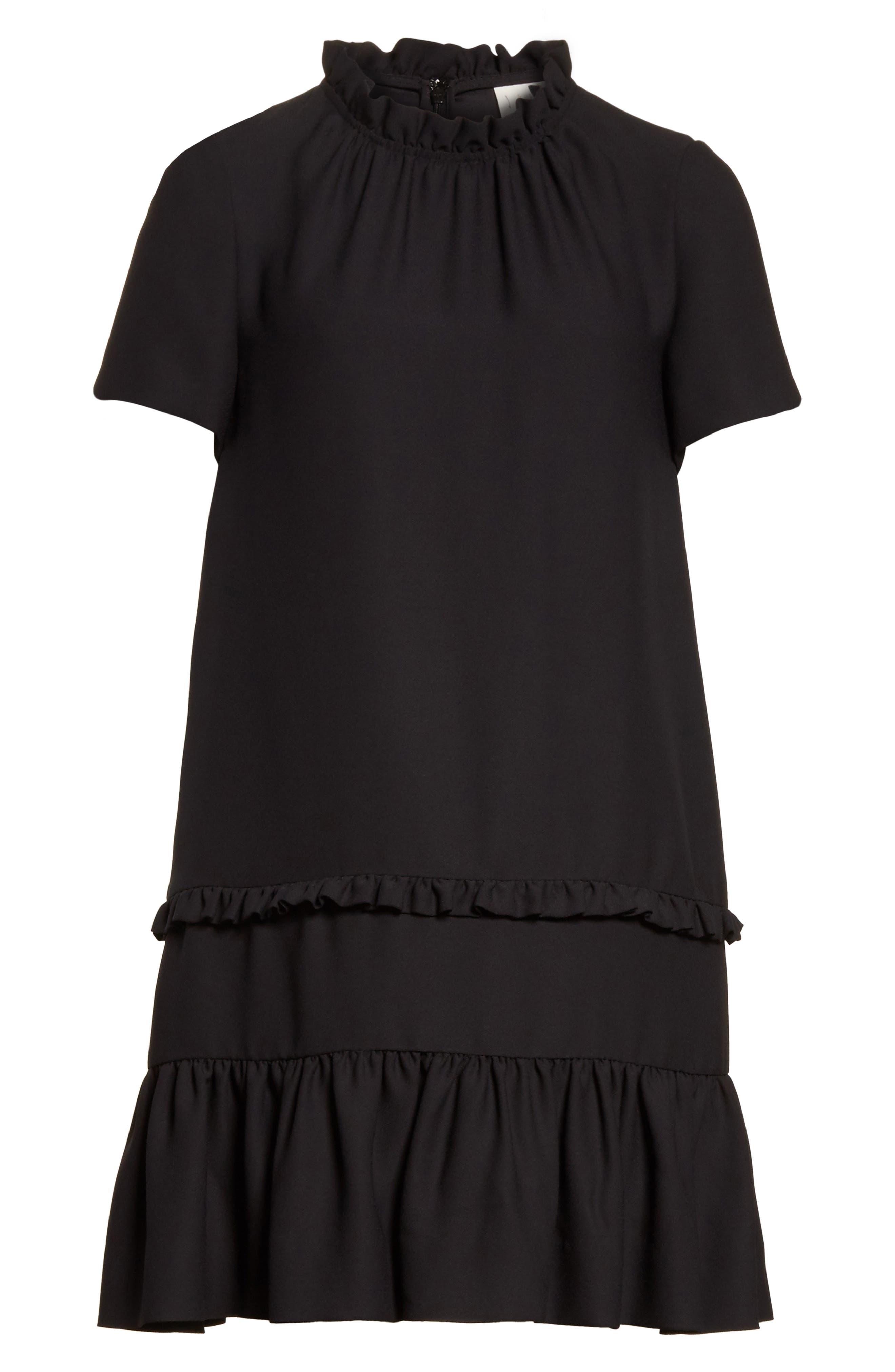 ruffle shift dress,                             Alternate thumbnail 6, color,                             001