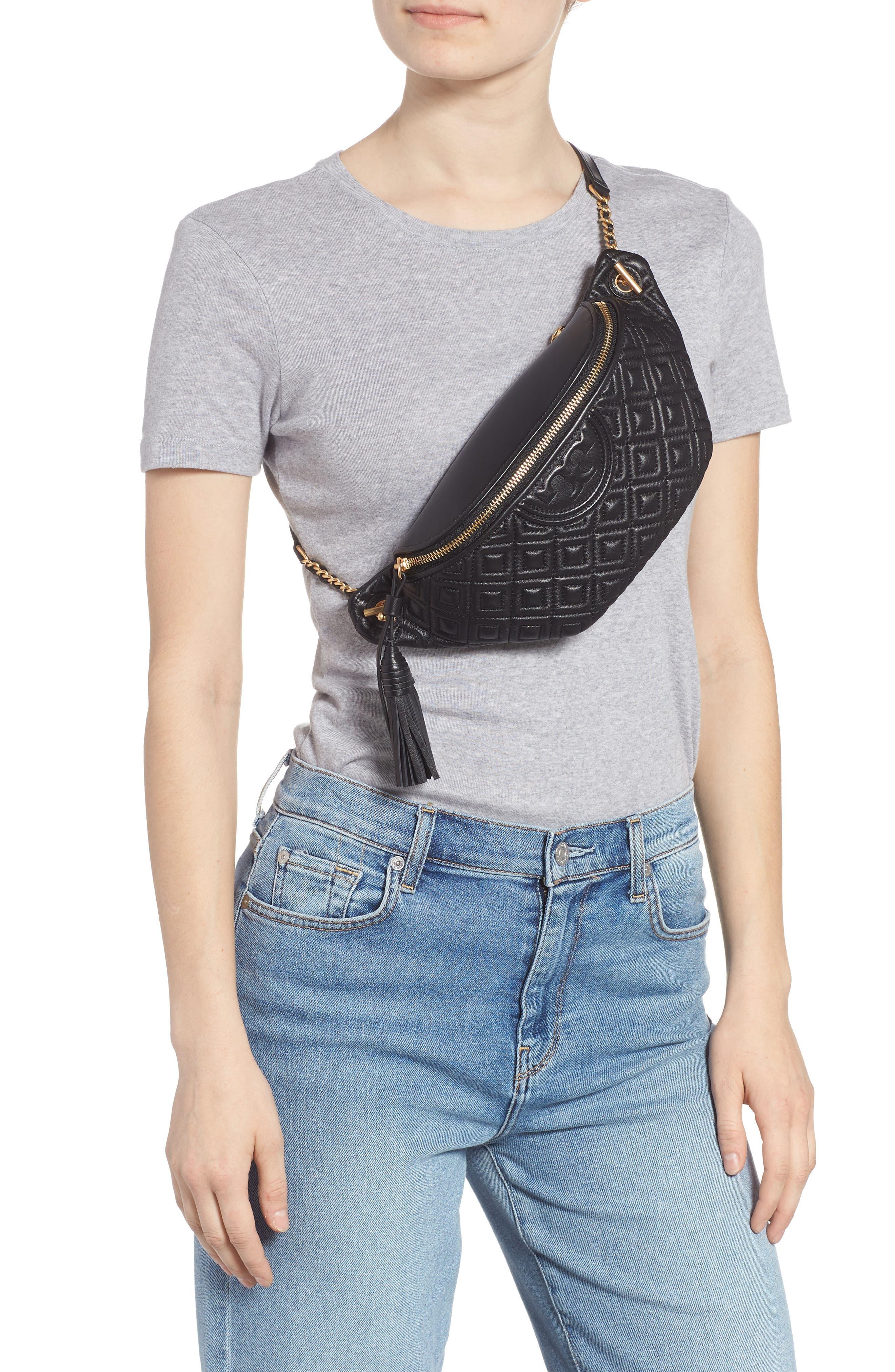 Fleming Quilted Leather Belt Bag,                             Alternate thumbnail 3, color,                             BLACK