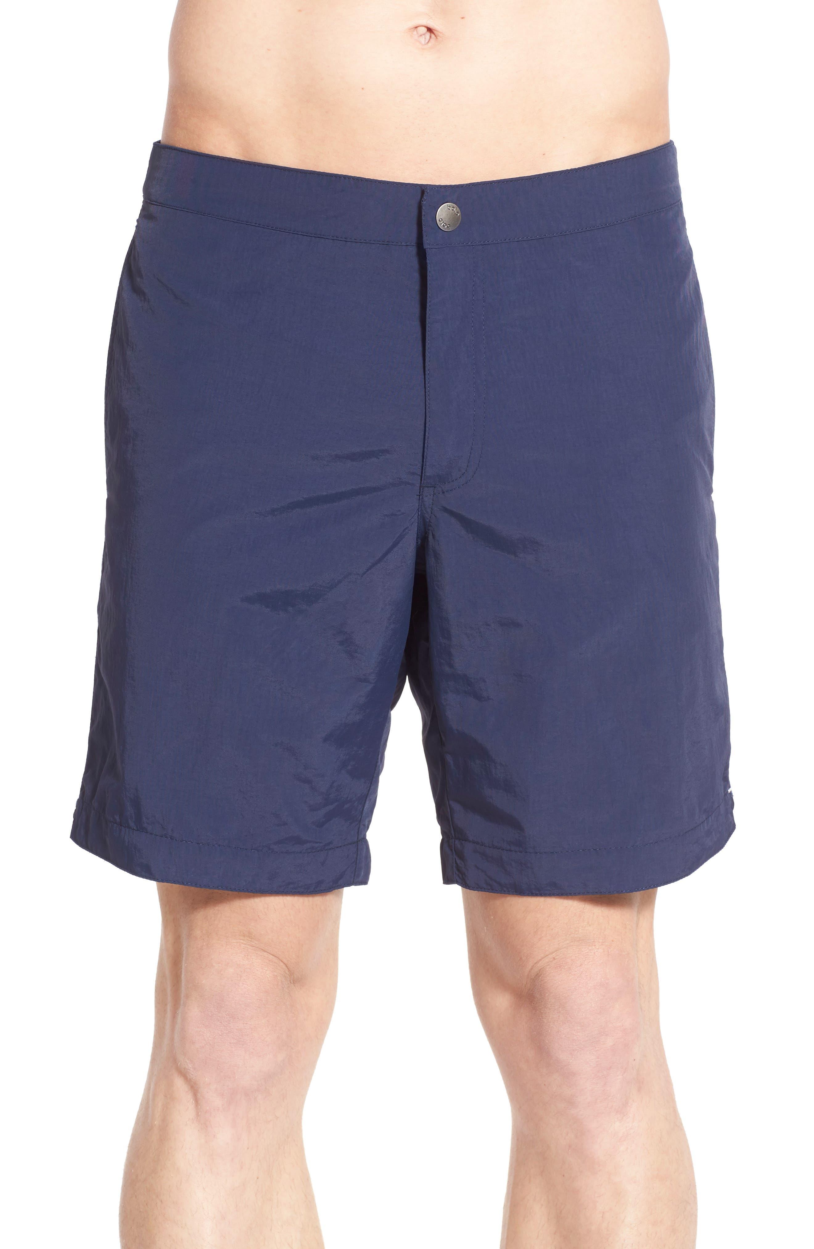 BOTO Aruba Tailored Fit 8.5 Inch Swim Trunks, Main, color, DEEP NAVY BLUE
