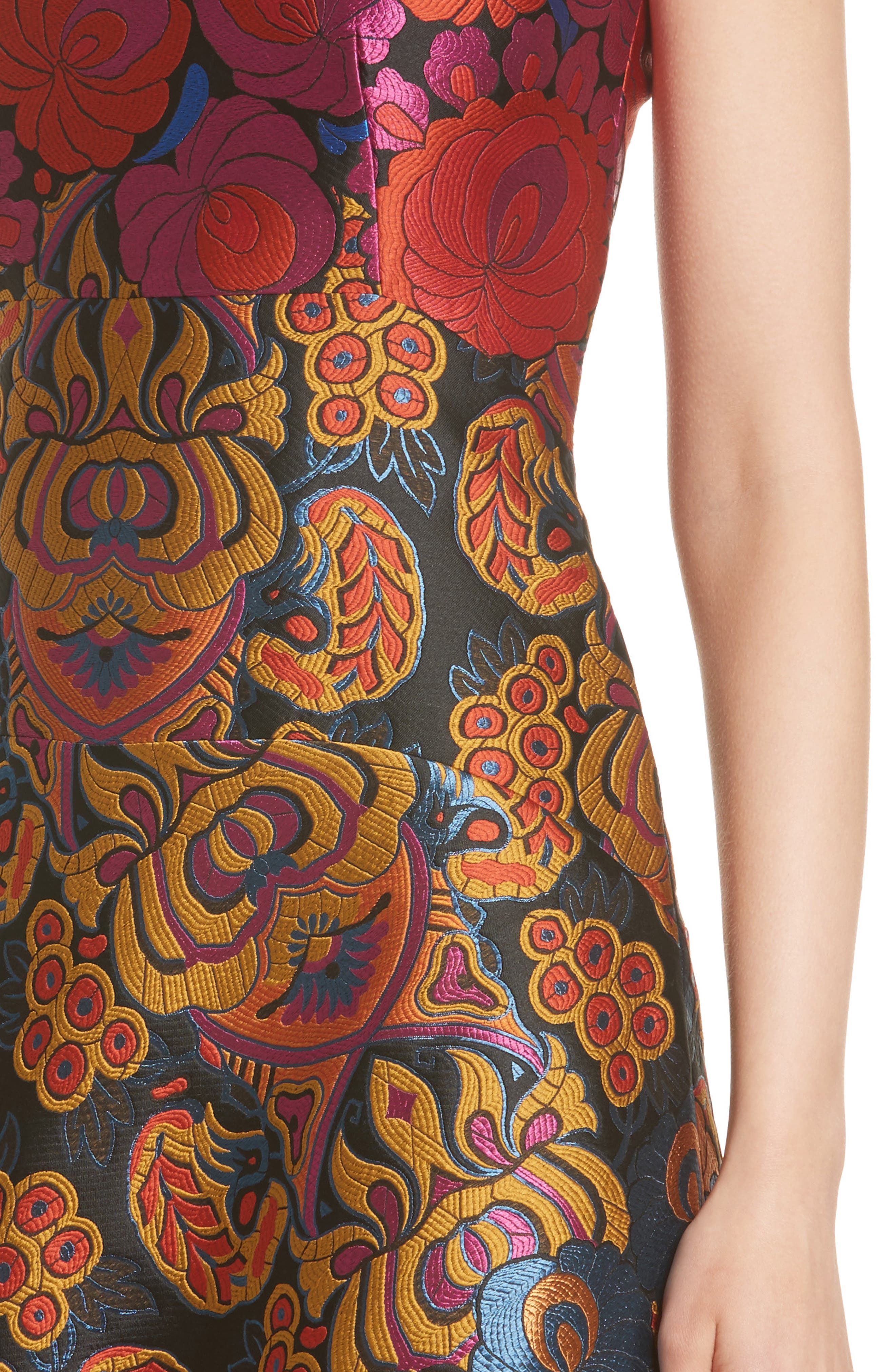 Sleeveless Brocade Dress,                             Alternate thumbnail 4, color,                             001