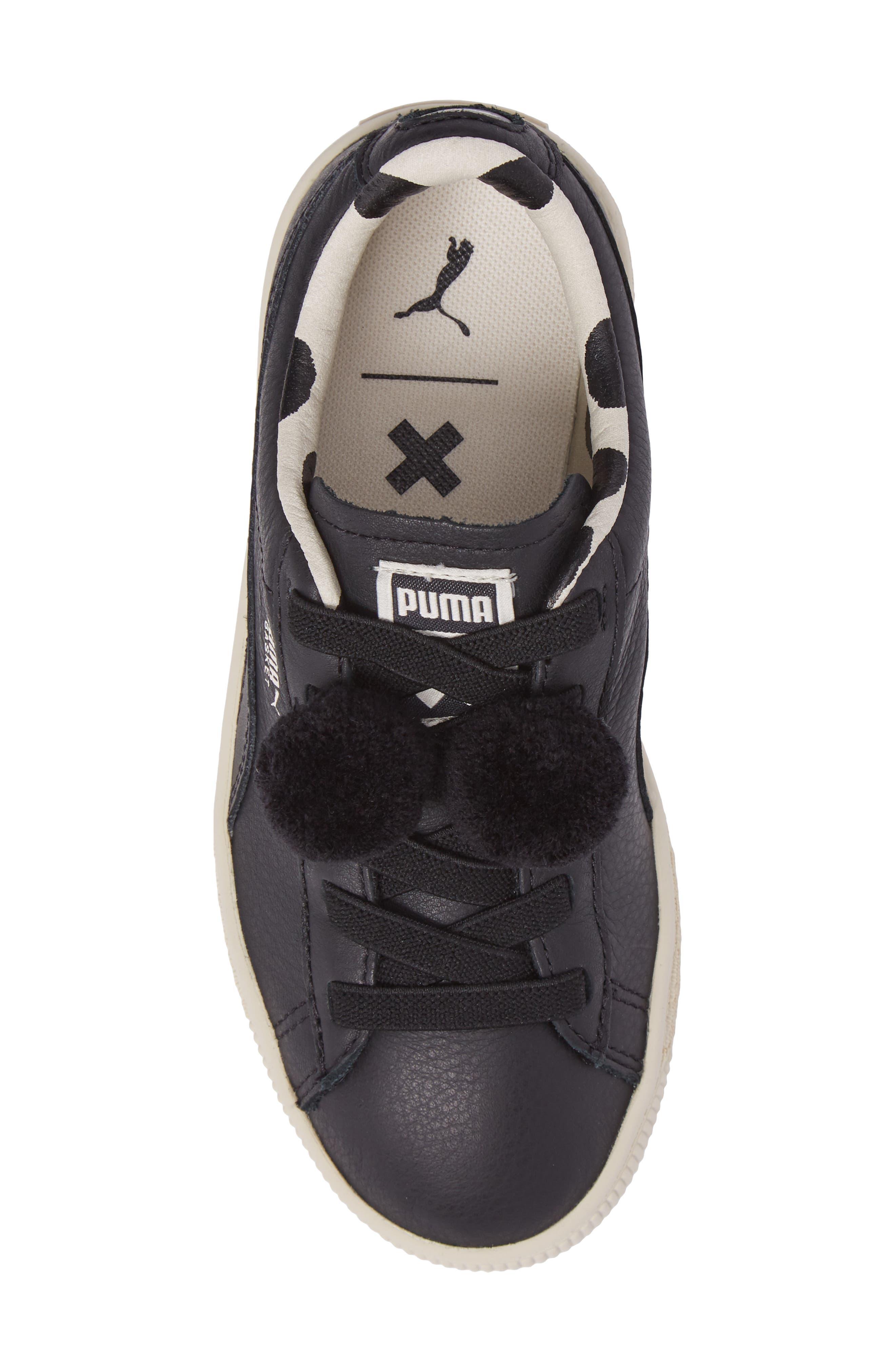 x tinycottons Basket Pompom Sneaker,                             Alternate thumbnail 5, color,                             001