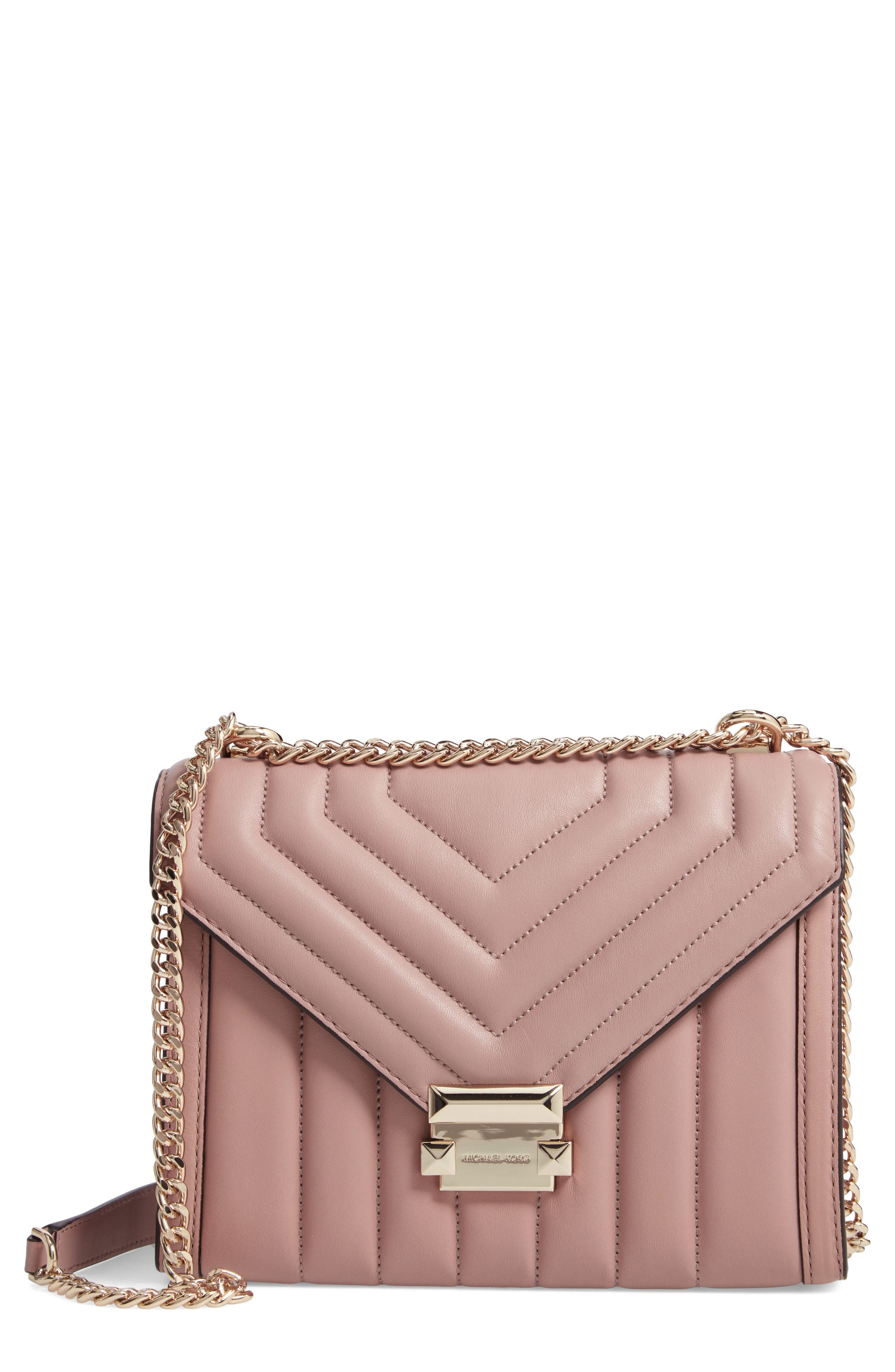 Whitney Large Quilted Leather Shoulder Bag in Fawn