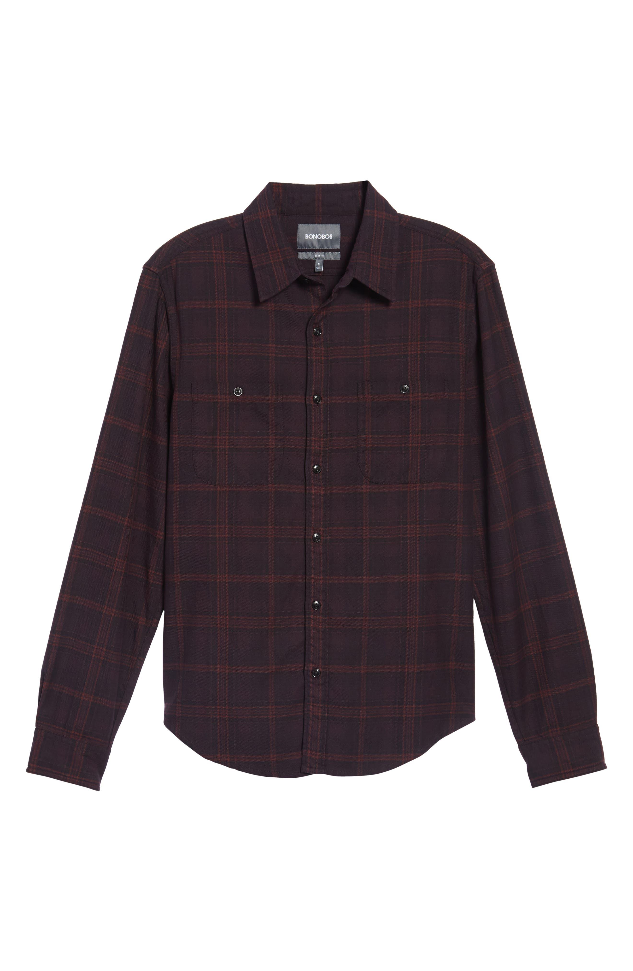 Slim Fit Check Flannel Sport Shirt,                             Alternate thumbnail 6, color,                             600