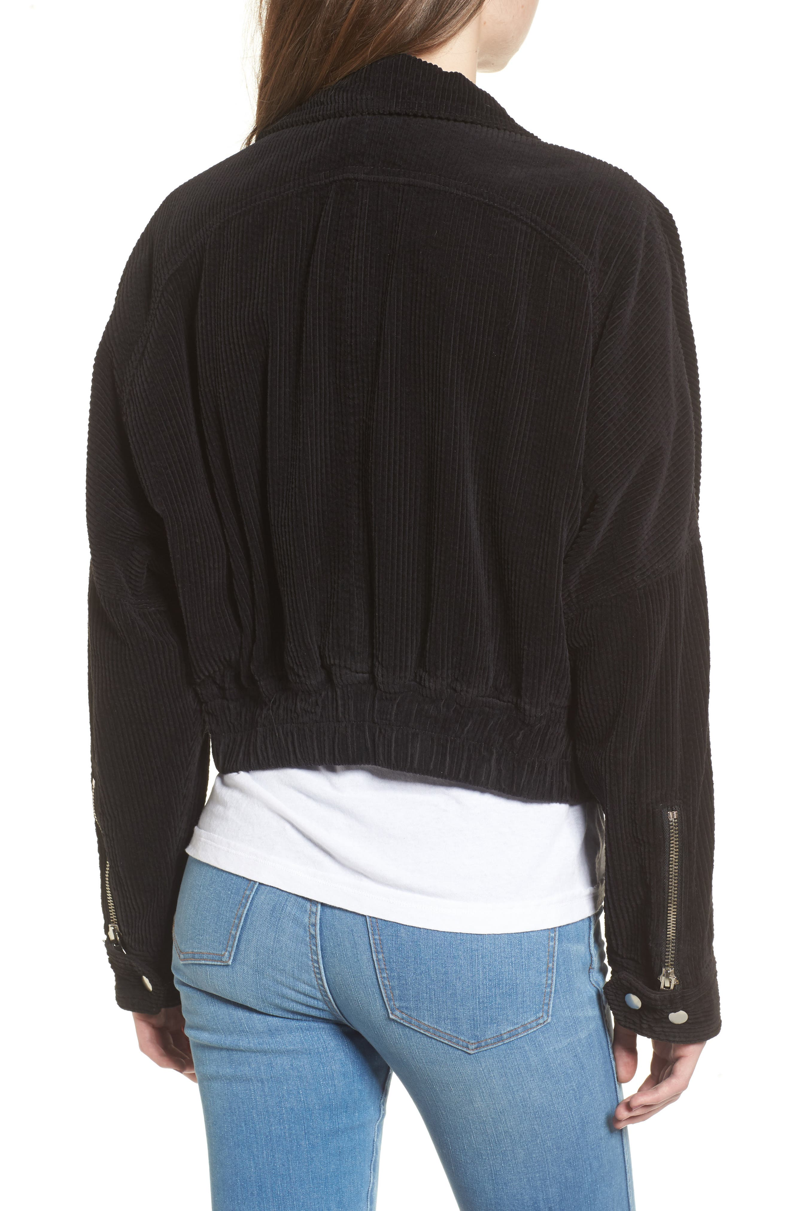Slouchy Dolman Moto Jacket,                             Alternate thumbnail 2, color,                             001