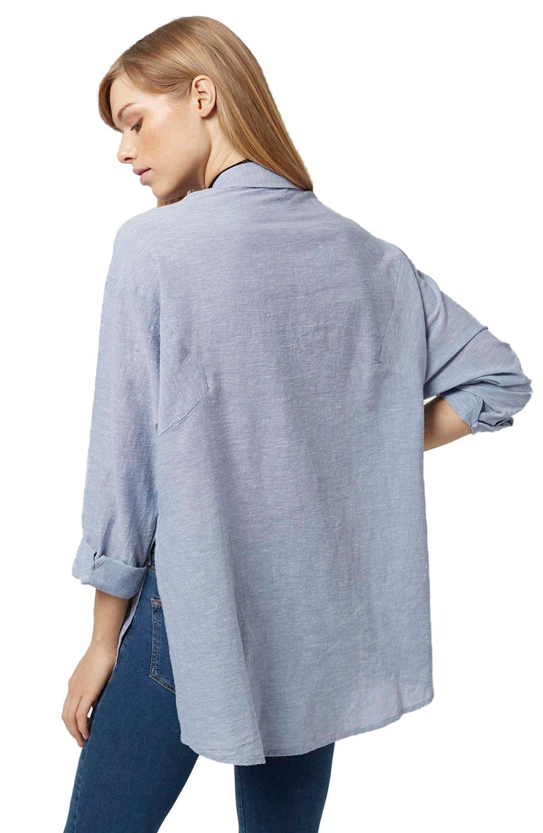 'Ivy' Oversize Chambray Shirt,                             Alternate thumbnail 10, color,