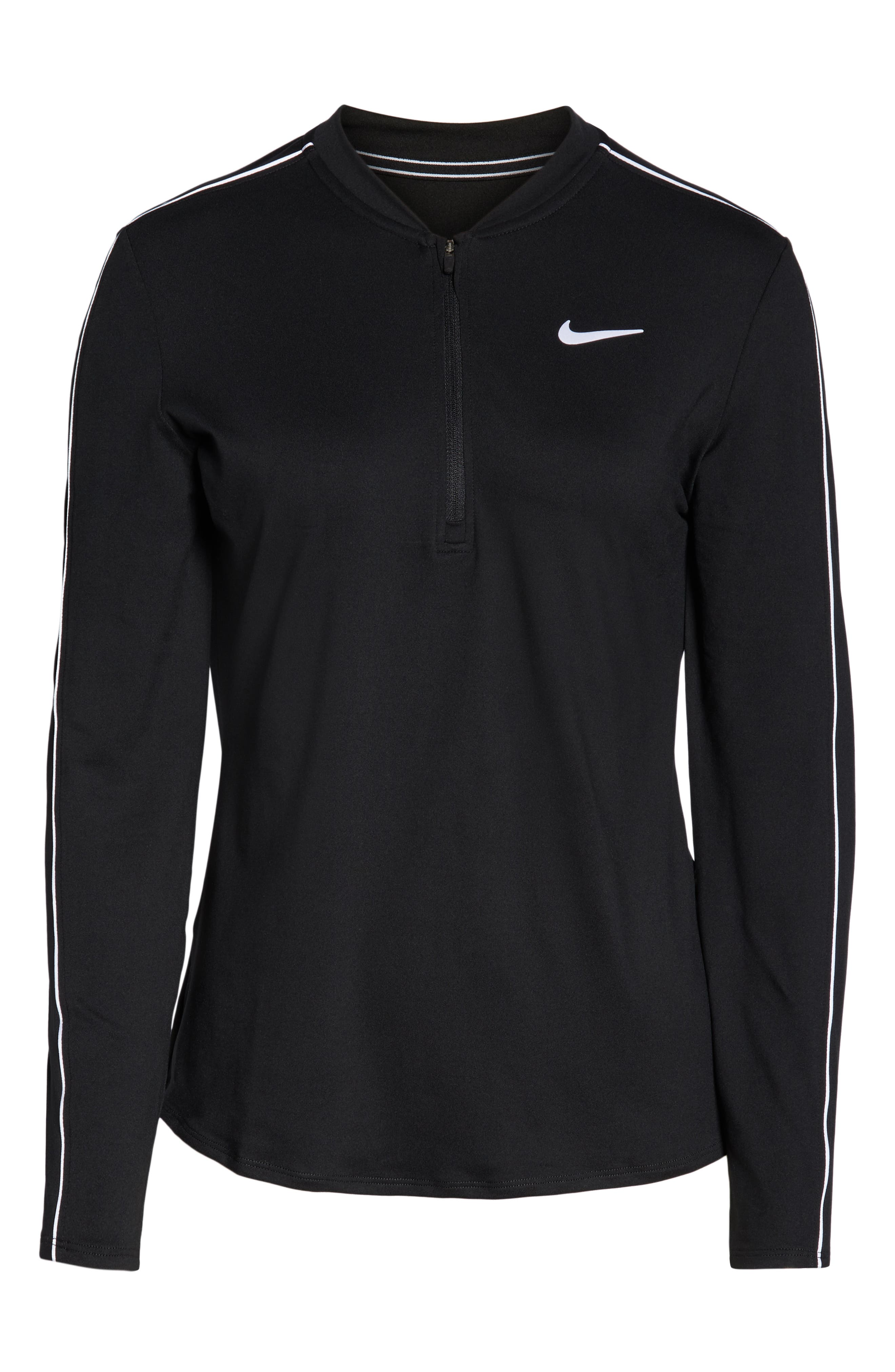 Court Dri-FIT Quarter Zip Top,                             Alternate thumbnail 7, color,                             BLACK/ WHITE/ WHITE/ BLACK