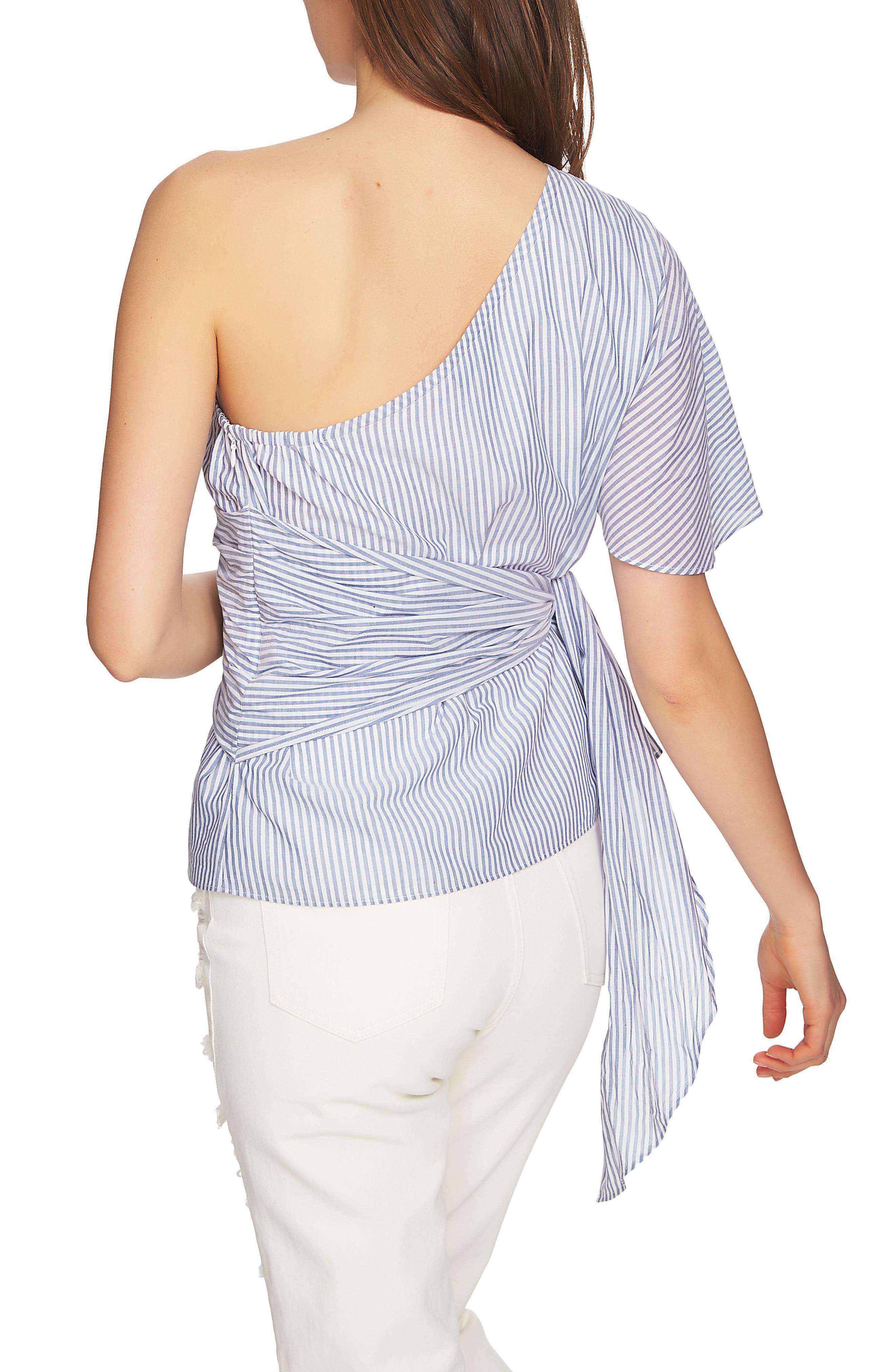 Tie Waist One-Shoulder Blouse,                             Alternate thumbnail 2, color,                             HARBOR LIGHT
