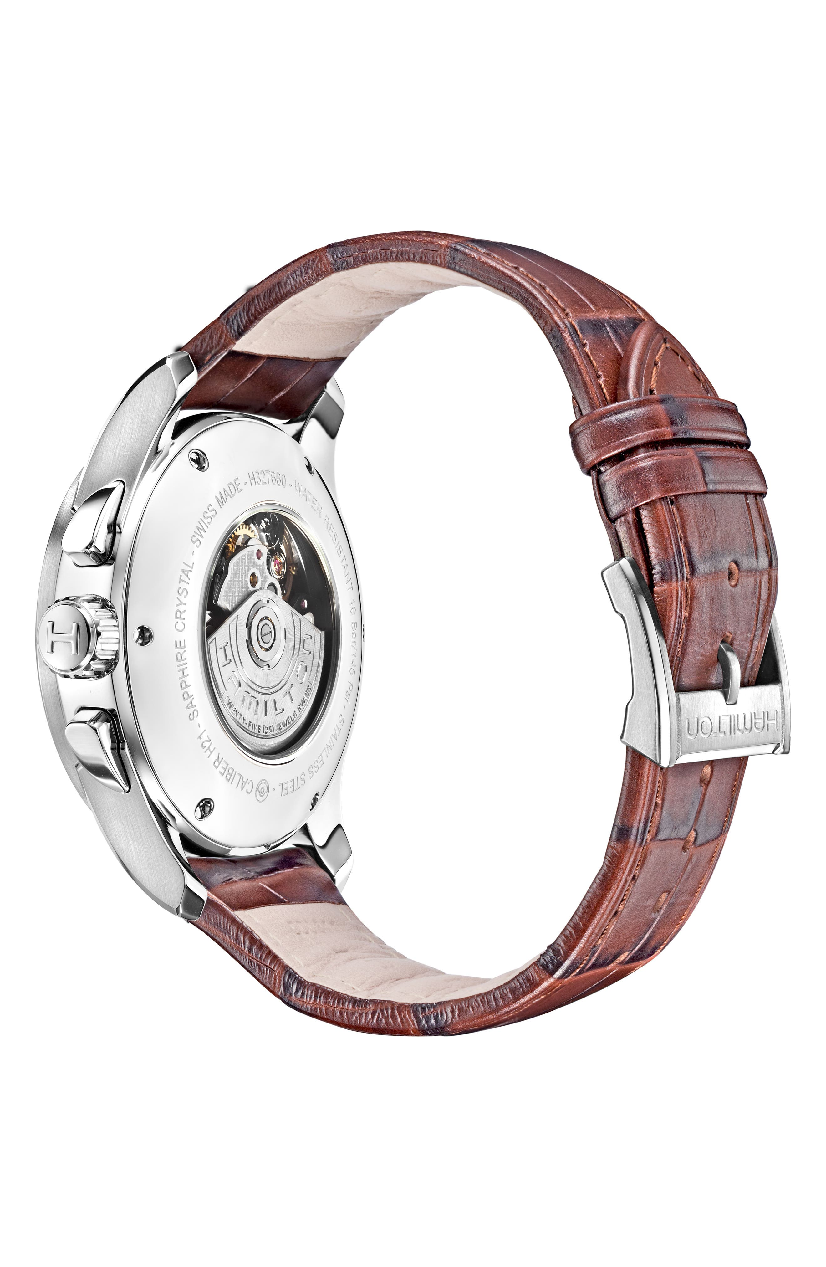 Jazzmaster Maestro Automatic Chronograph Leather Strap Watch, 41mm,                             Alternate thumbnail 2, color,                             BROWN/ WHITE/ SILVER