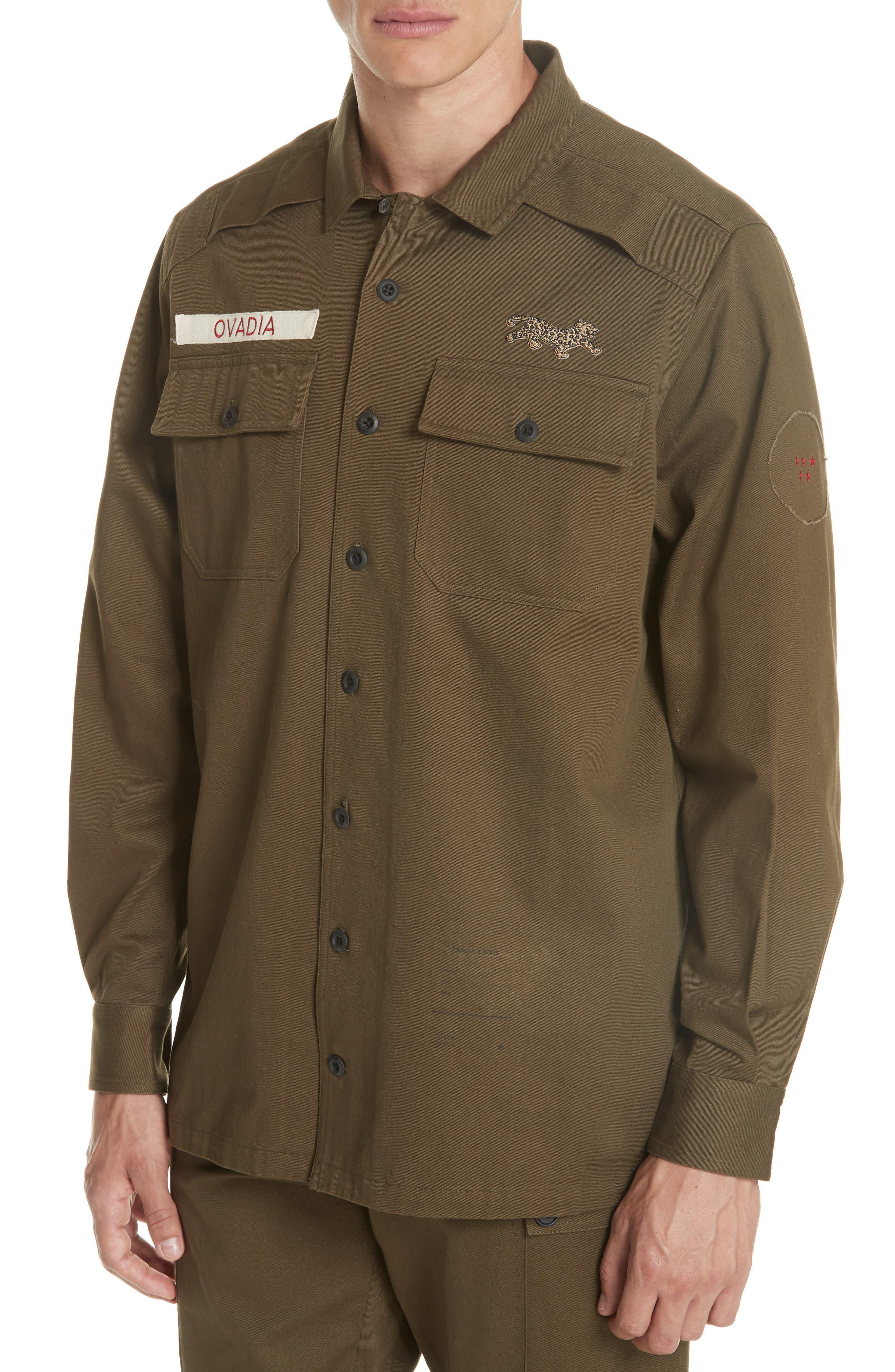 OVADIA & SONS,                             Military Woven Shirt,                             Alternate thumbnail 4, color,                             325
