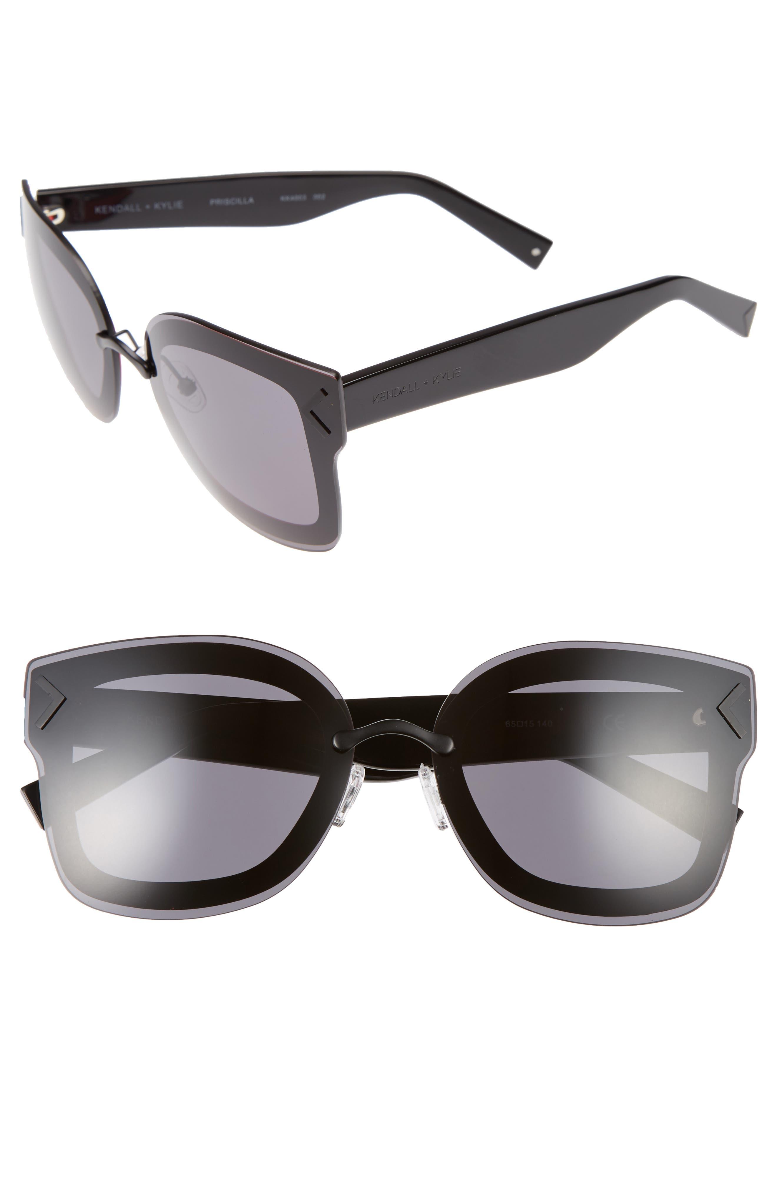 Priscilla 65mm Butterfly Sunglasses,                             Main thumbnail 1, color,                             001