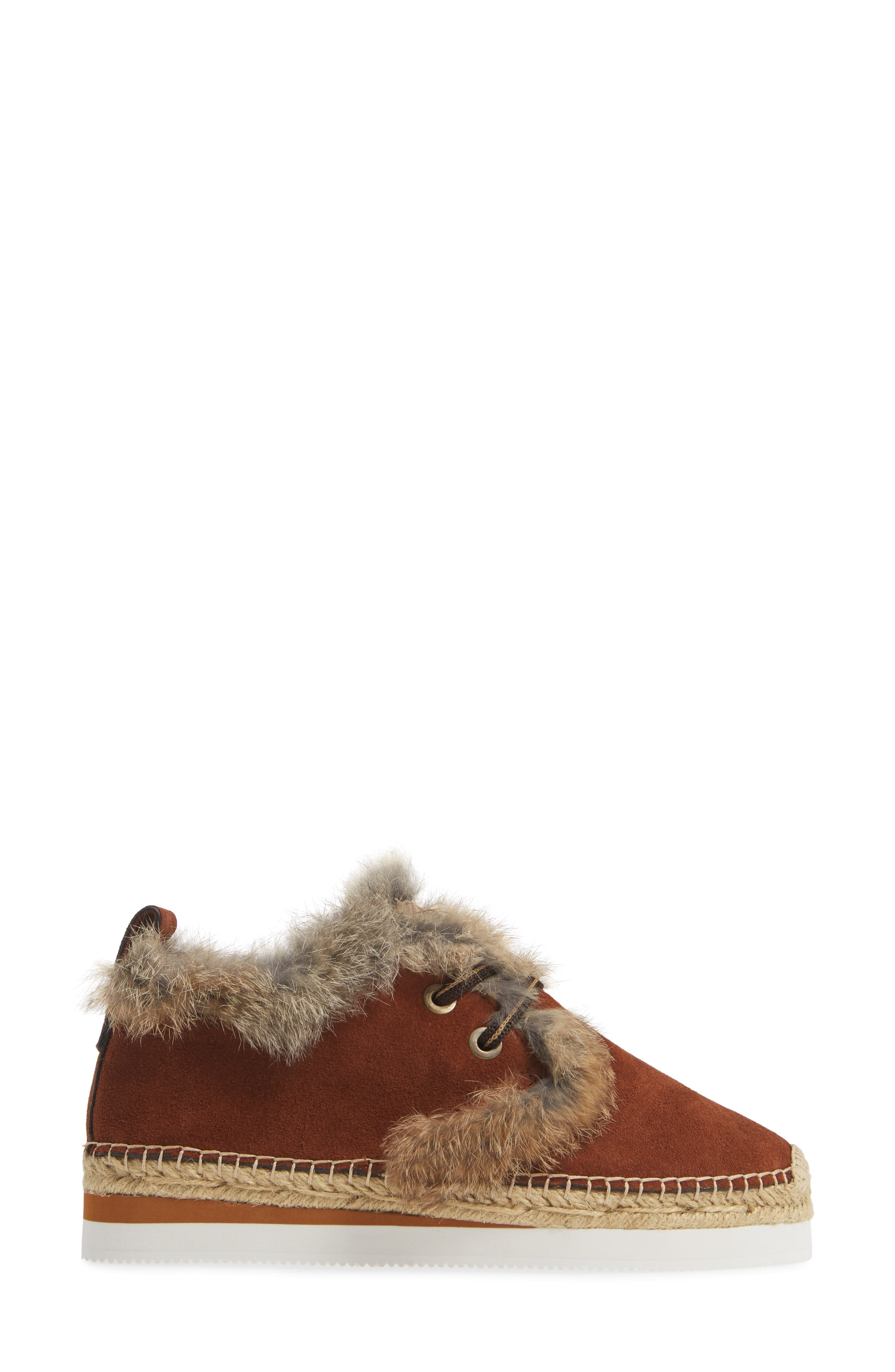 Glyn Genuine Shearling & Genuine Rabbit Fur Lace-Up Espadrille,                             Alternate thumbnail 3, color,                             COLA
