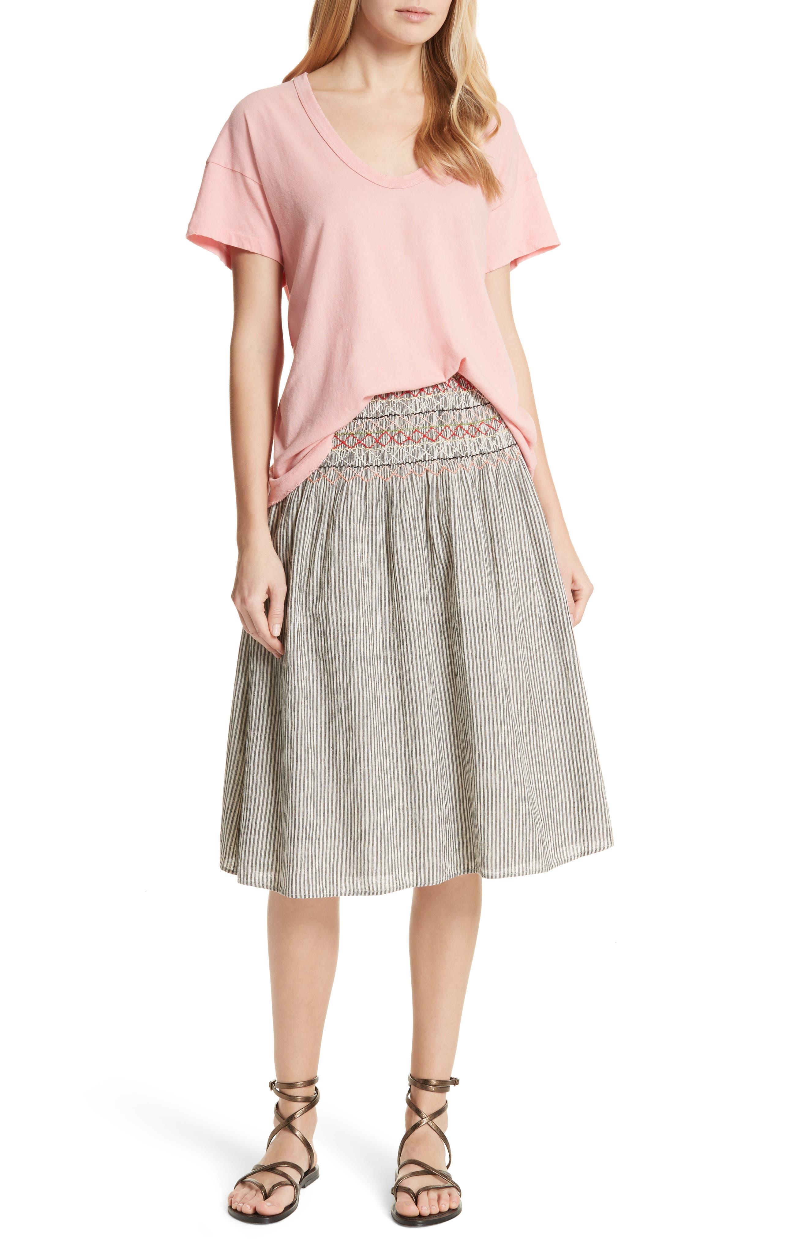 The Vista Cotton & Linen Skirt,                             Alternate thumbnail 7, color,