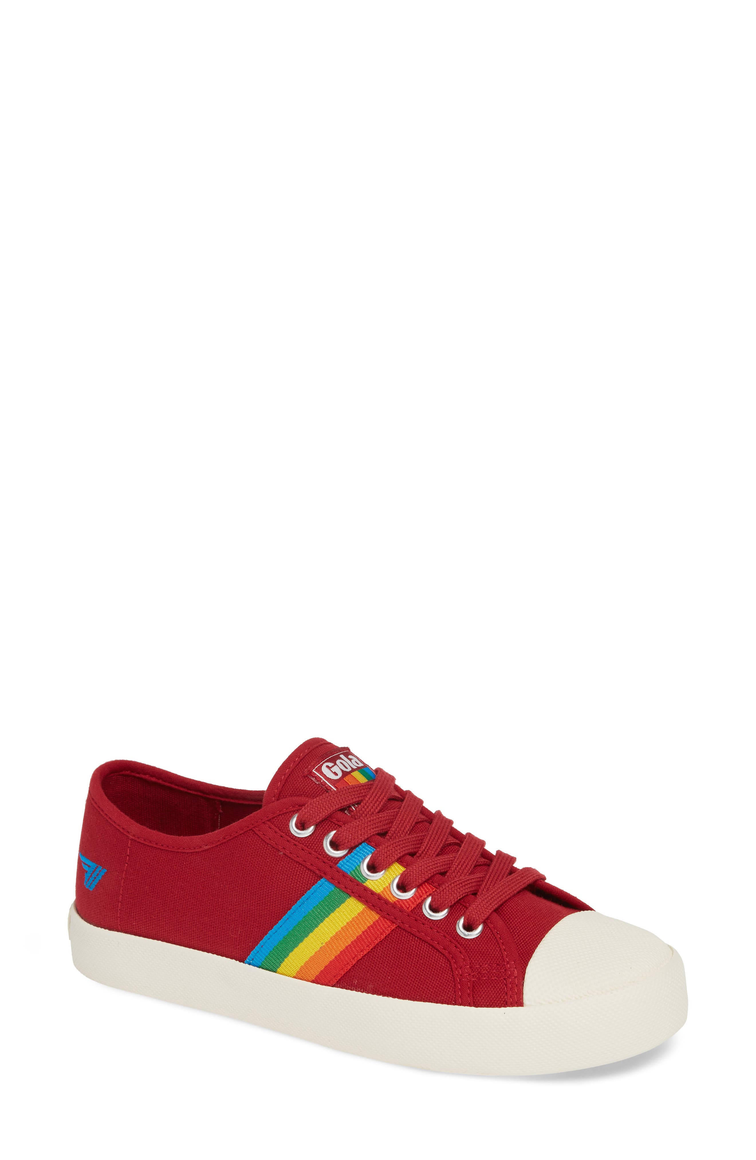 GOLA Coaster Rainbow Striped Sneaker in Deep Red/ Multi