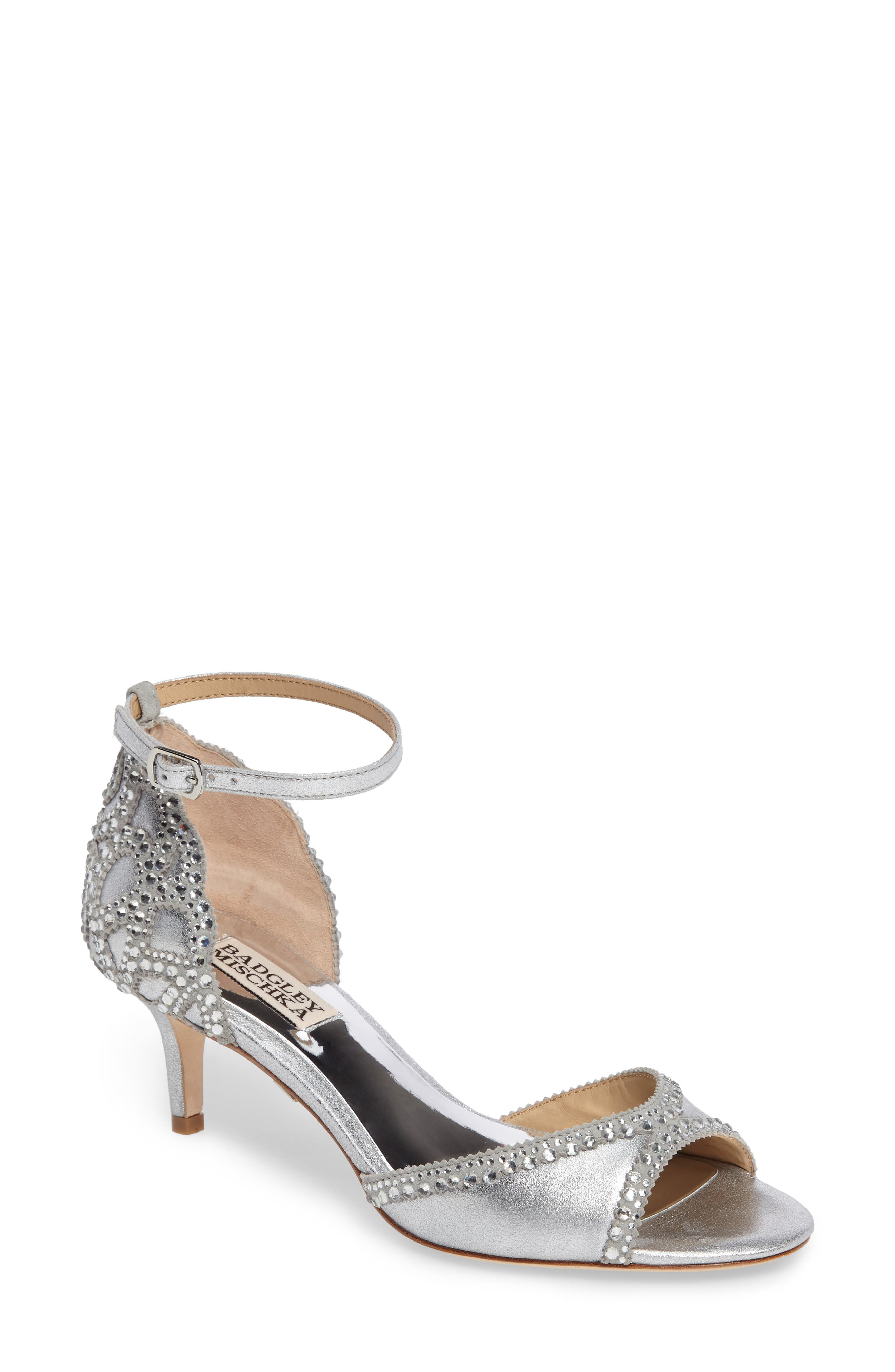 'Gillian' Crystal Embellished d'Orsay Sandal,                             Main thumbnail 1, color,                             SILVER METALLIC SUEDE