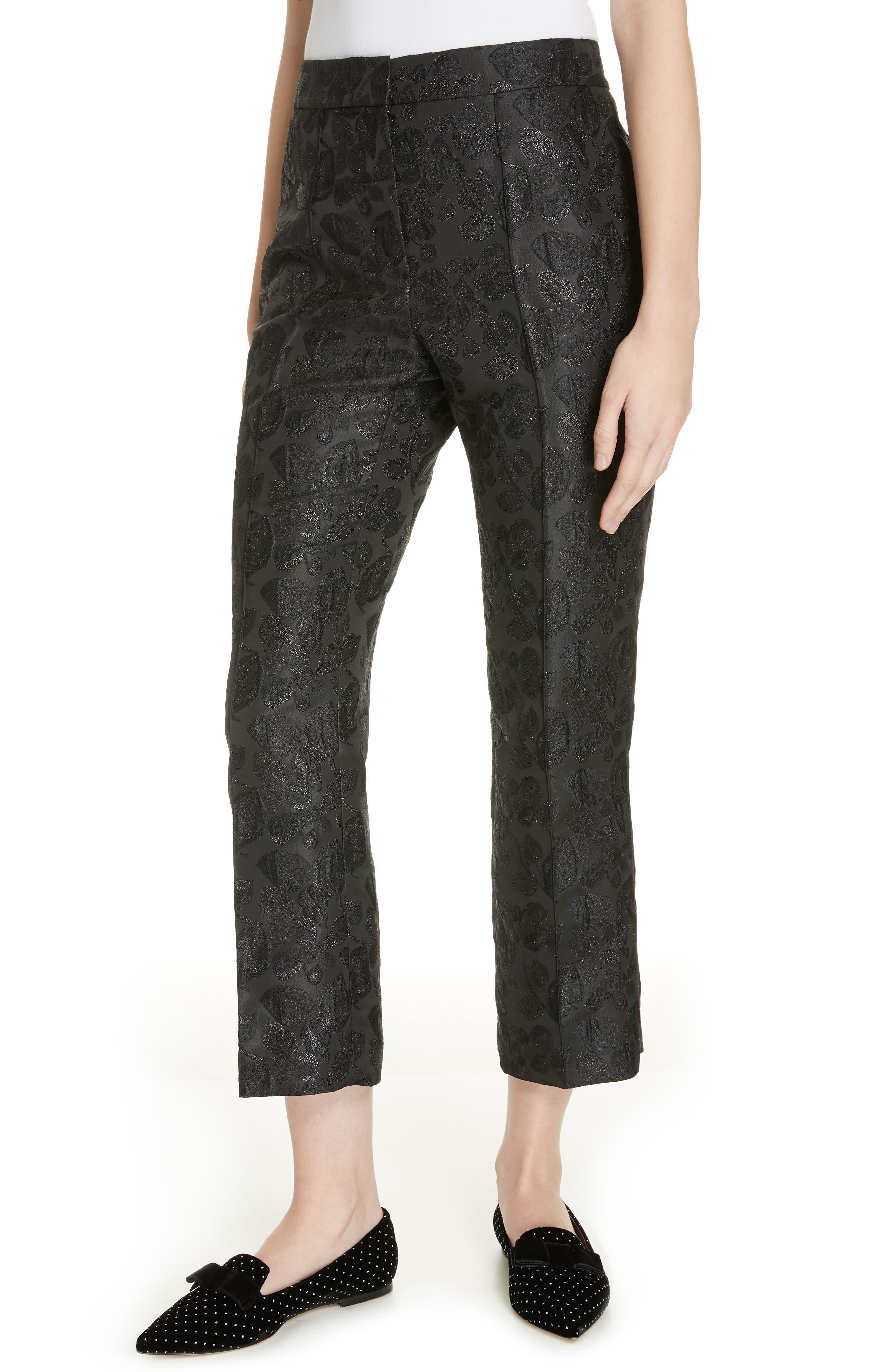 metallic tonal jacquard flare pants, Main, color, BLACK
