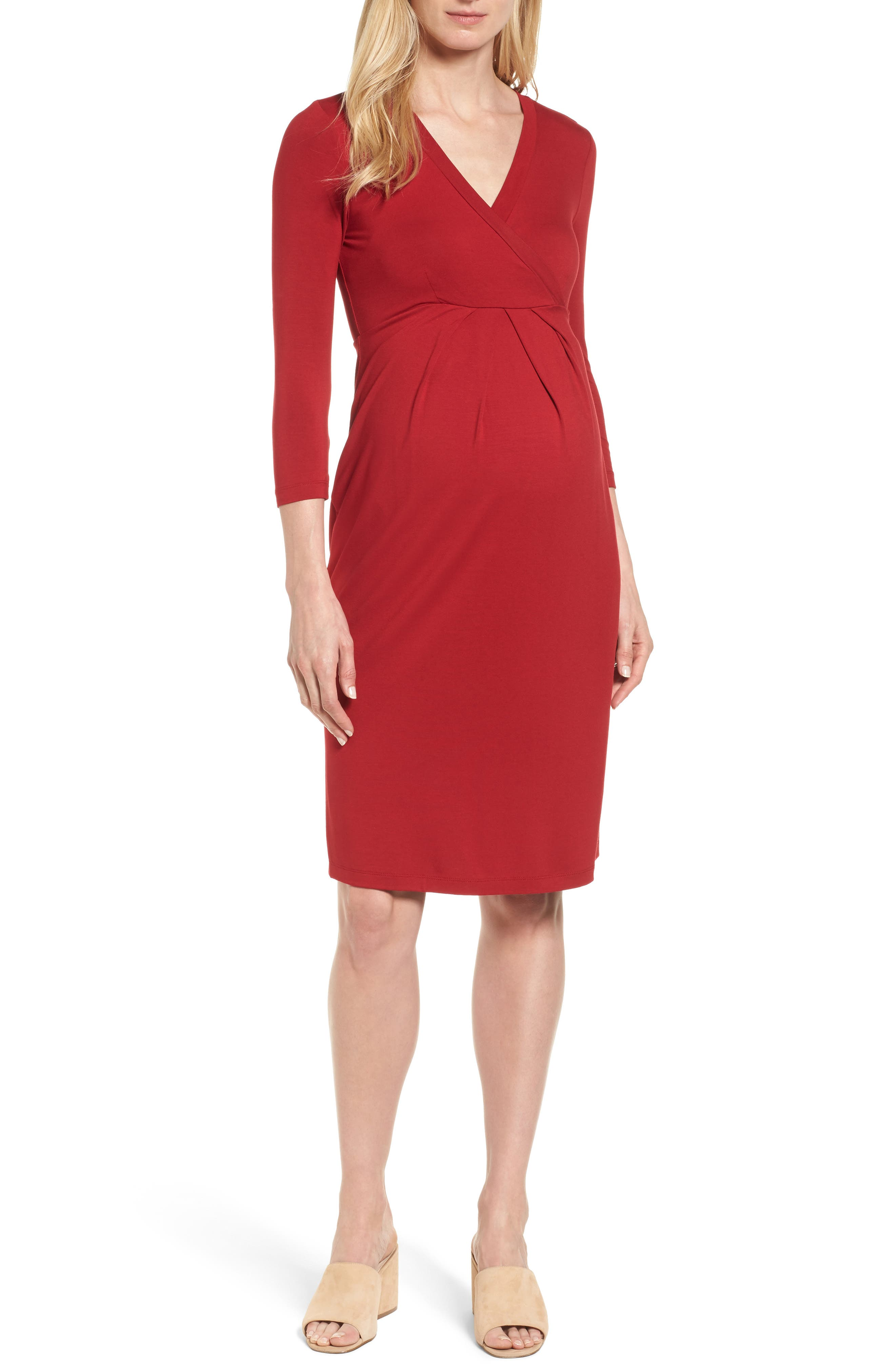 ISABELLA OLIVER Gracia Surplice Maternity Dress, Main, color, CARDAMOM RED
