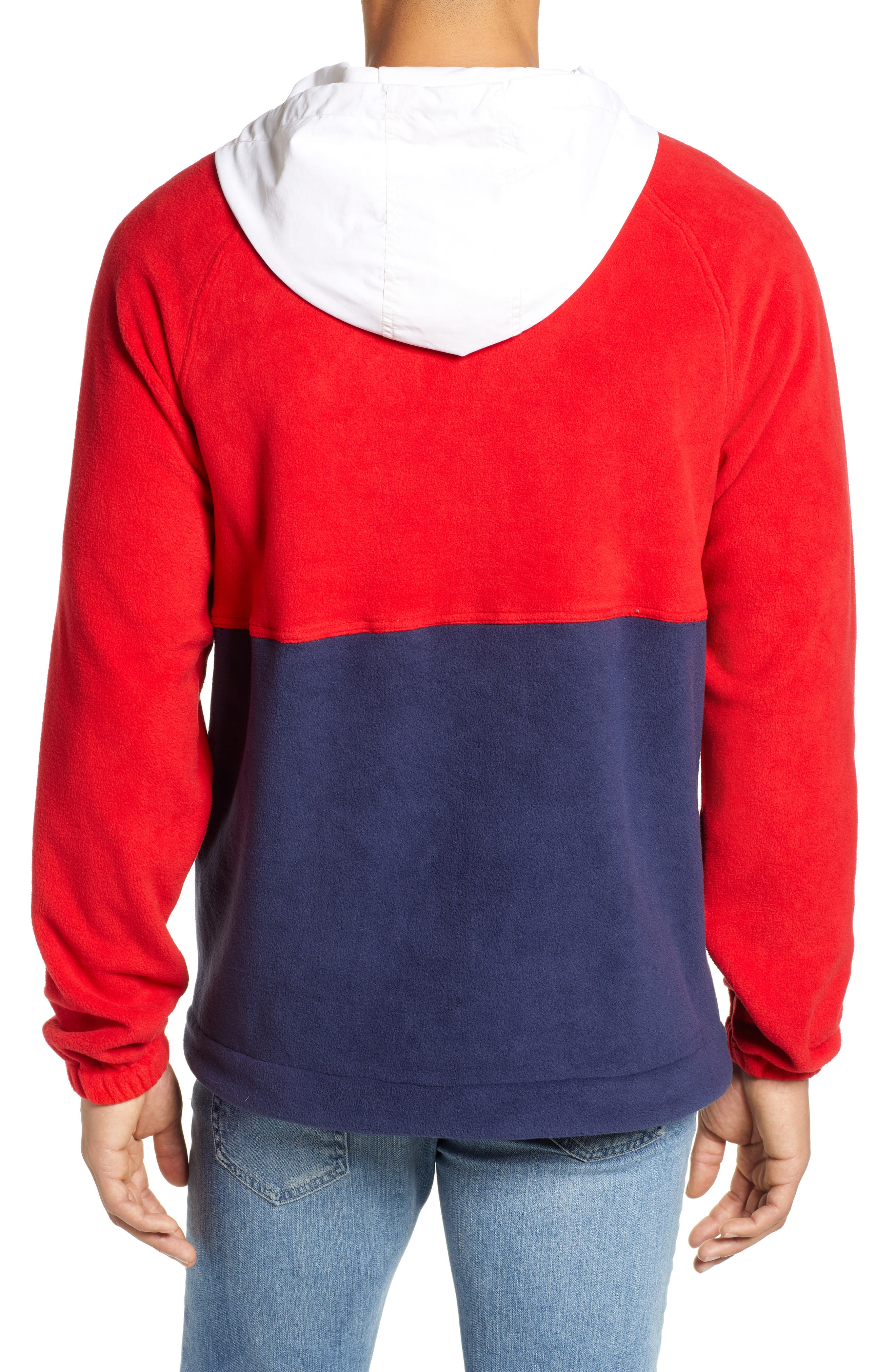 Honnold Colorblock Fleece Pullover Hoodie,                             Alternate thumbnail 2, color,                             MARS RED