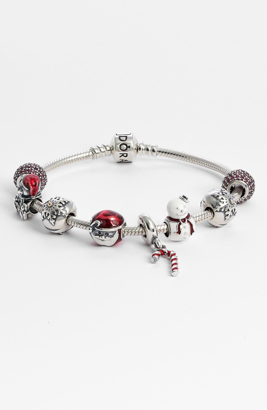 PANDORA,                             Iconic Silver Charm Bracelet,                             Alternate thumbnail 3, color,                             STERLING SILVER