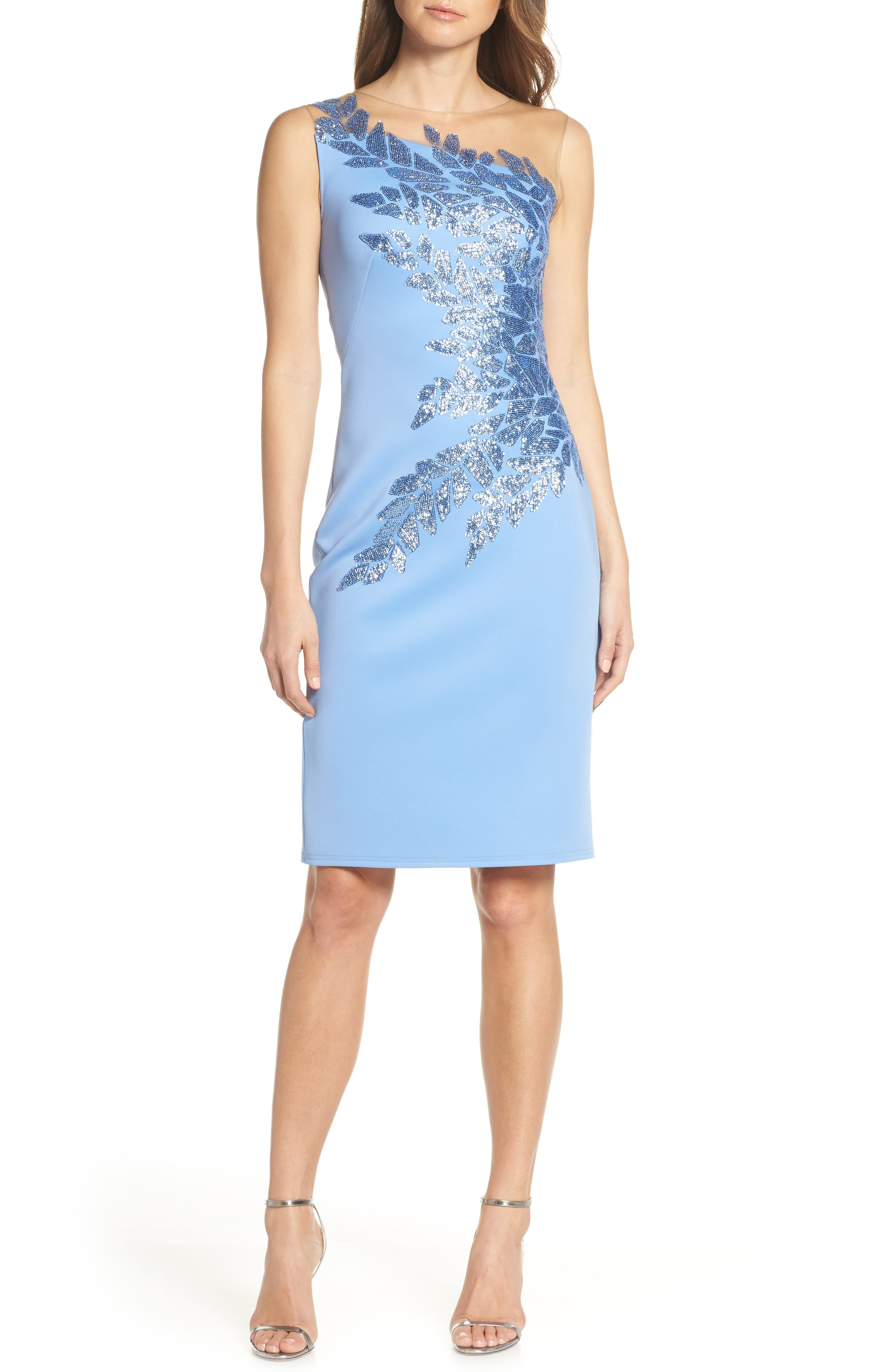 Tadashi Shoji Sugg Beaded Neoprene Cocktail Dress, Blue