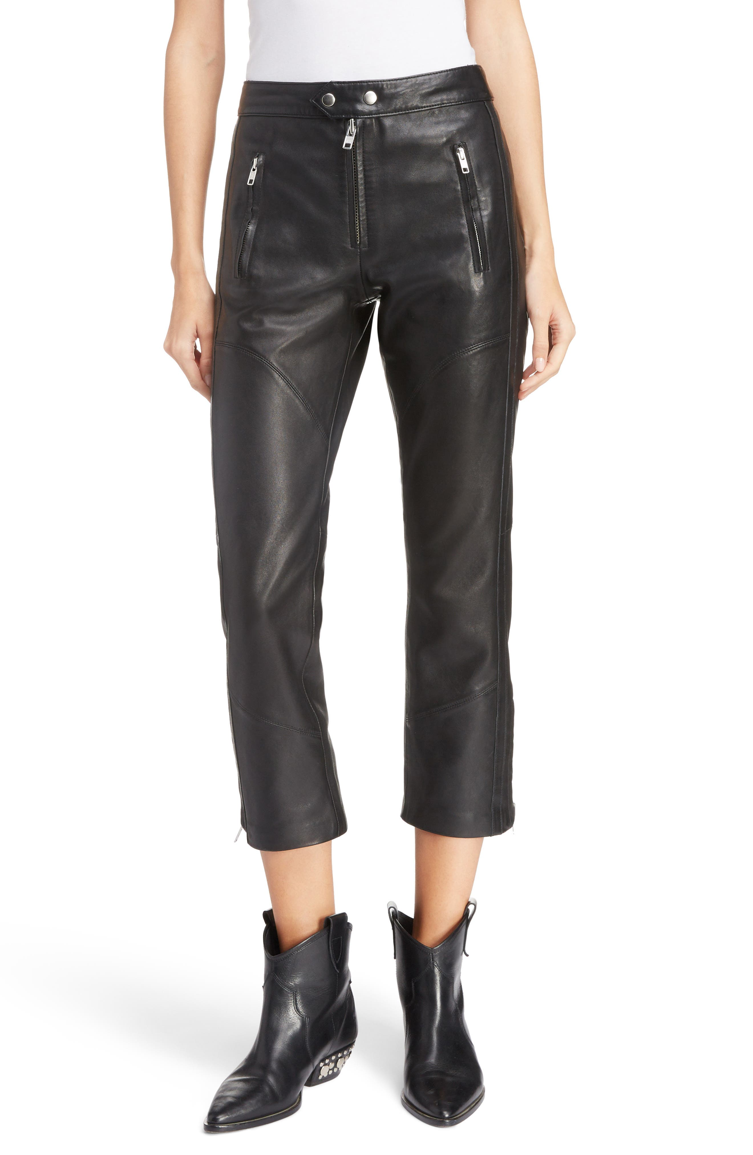 Aya Leather Pants,                         Main,                         color, BLACK