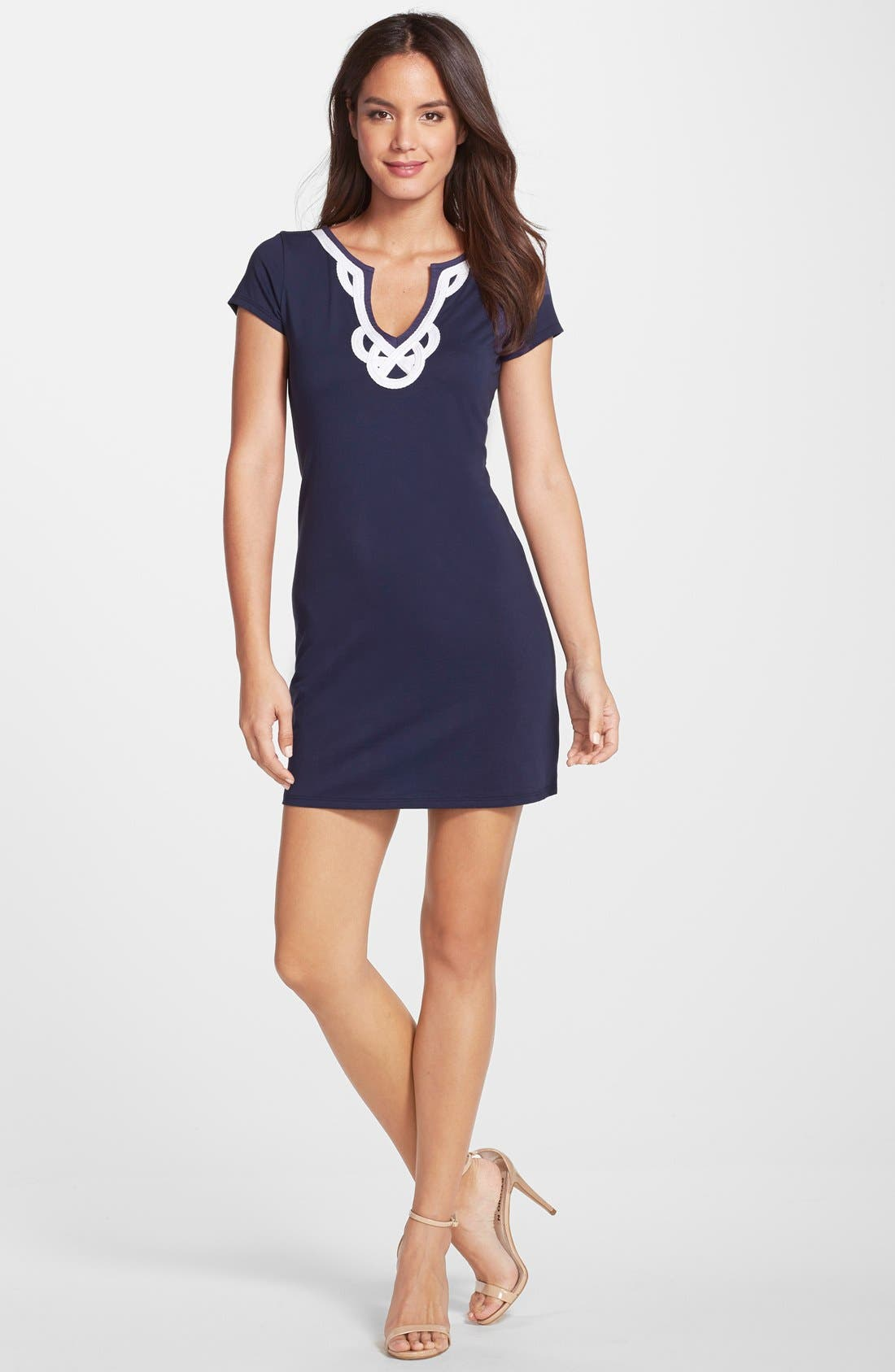 'Brewster' Contrast Trim T-Shirt Dress,                             Alternate thumbnail 8, color,                             TRUE NAVY
