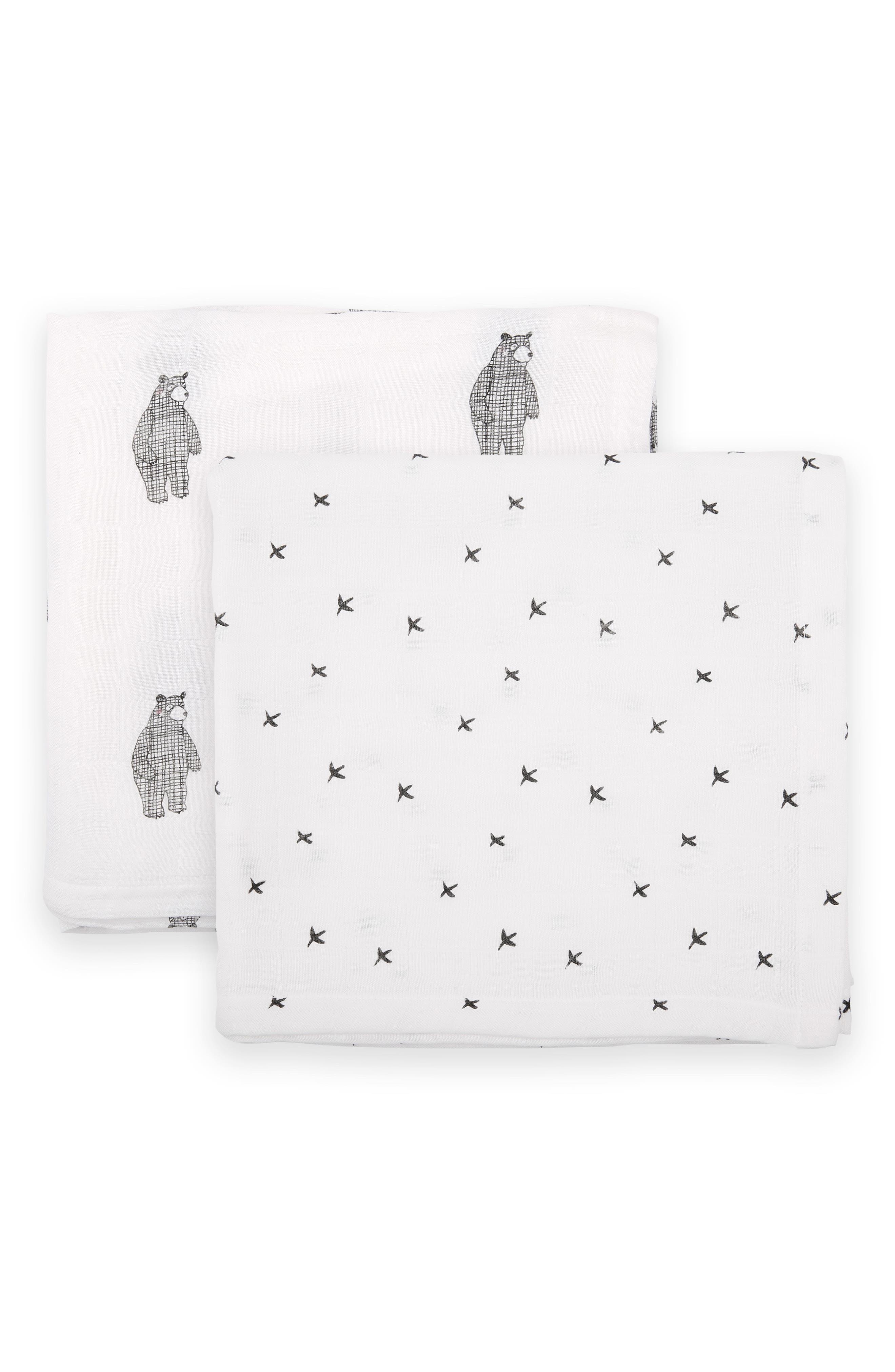 2-Pack Cuddle Muslin Blankets,                             Main thumbnail 1, color,                             BIG BEAR/ MONO BIRDS