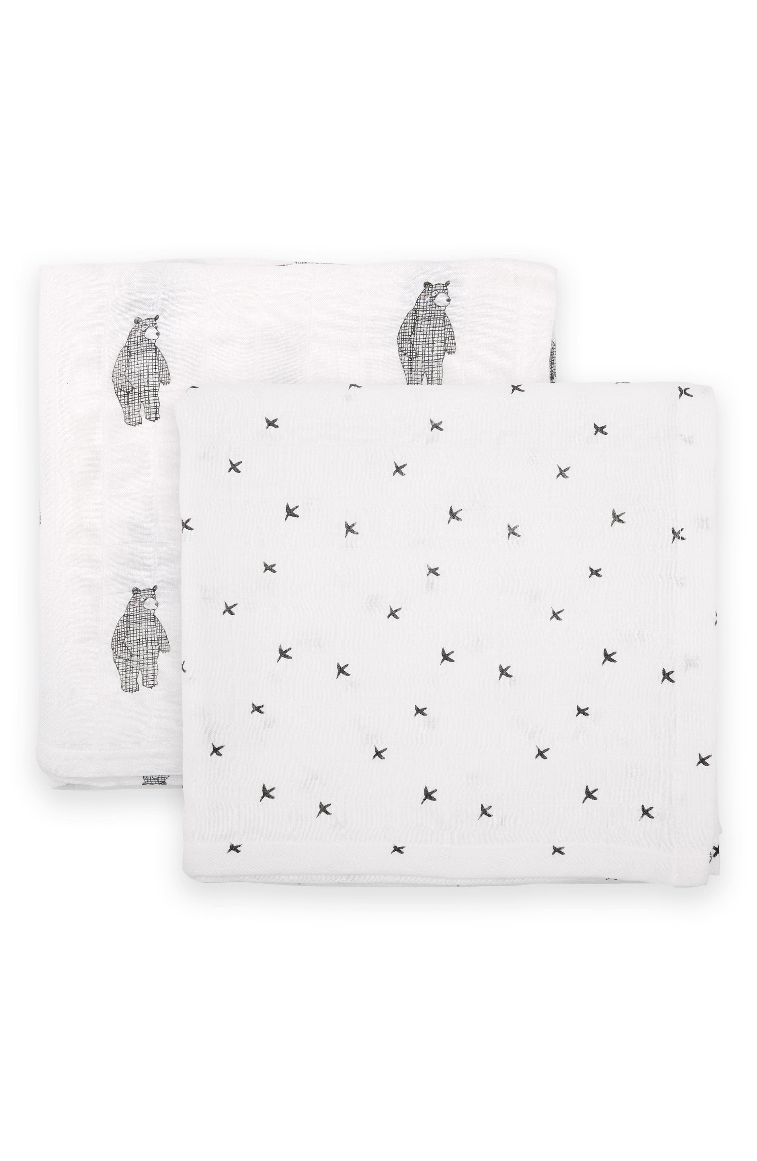 2-Pack Cuddle Blankets, Main, color, BIG BEAR/ MONO BIRDS