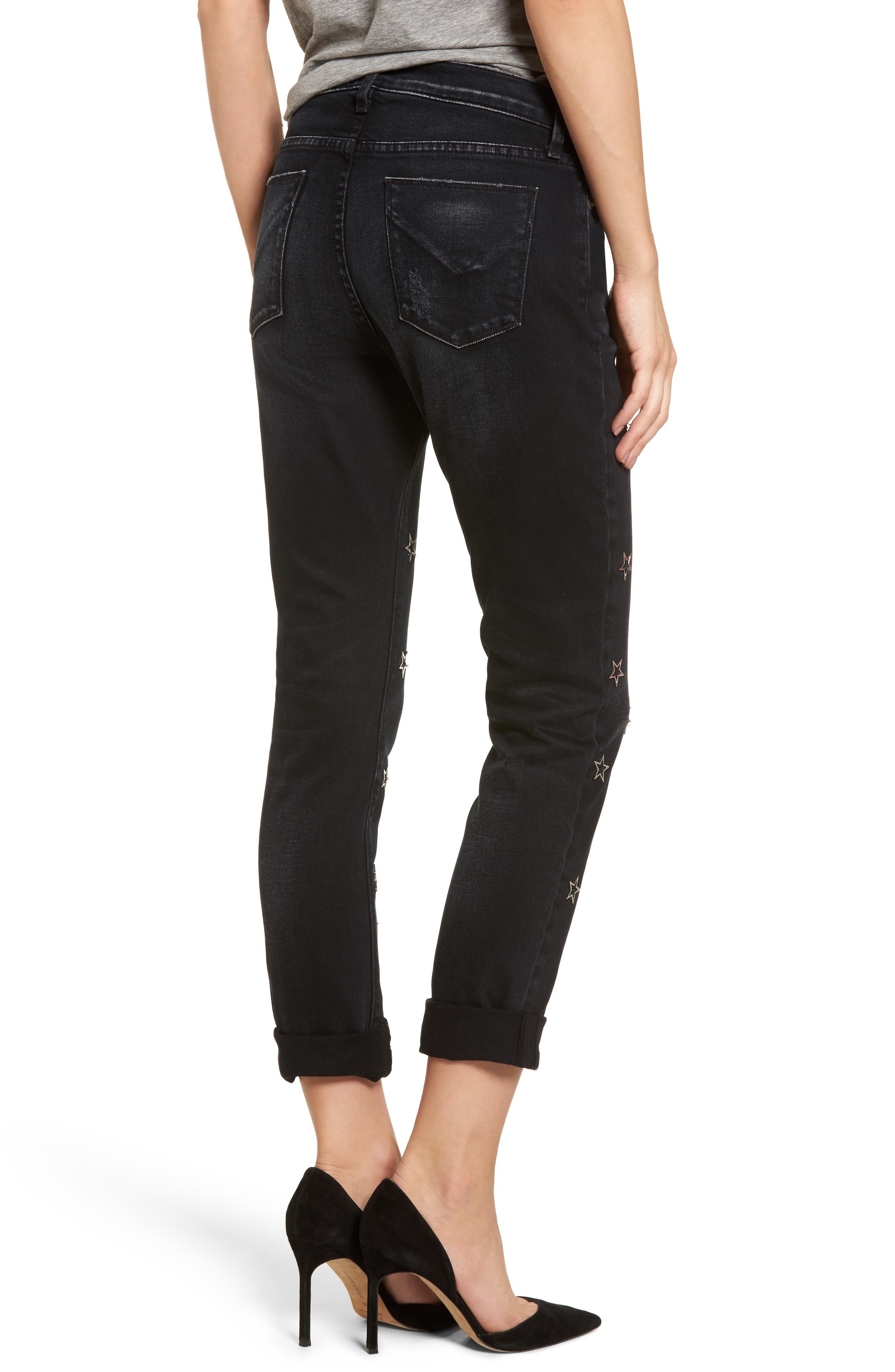 Riley Crop Relaxed Straight Leg Jeans,                             Alternate thumbnail 2, color,                             001