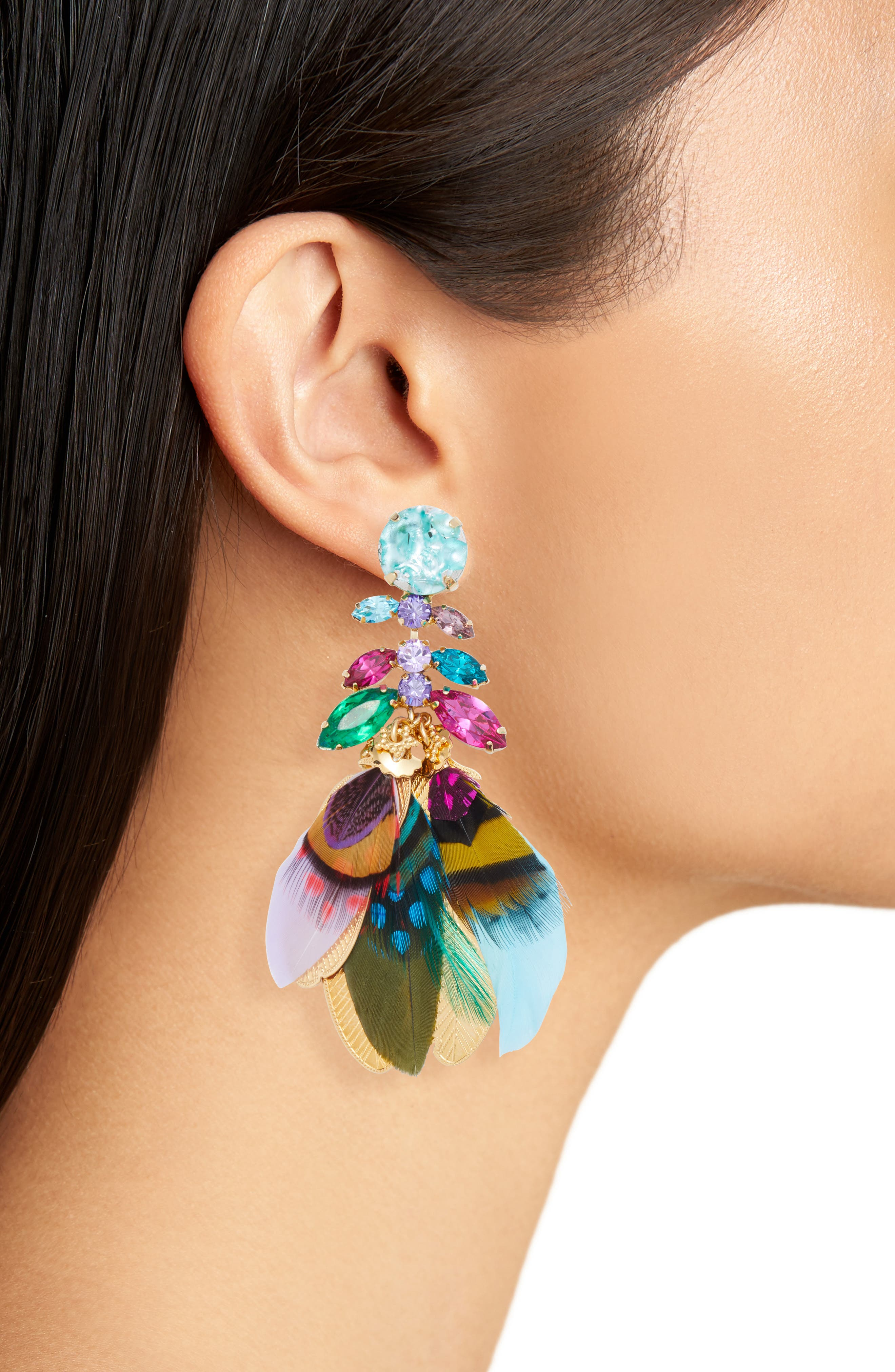 Cabaret Clip-On Feather Drop Earrings,                             Alternate thumbnail 2, color,                             400
